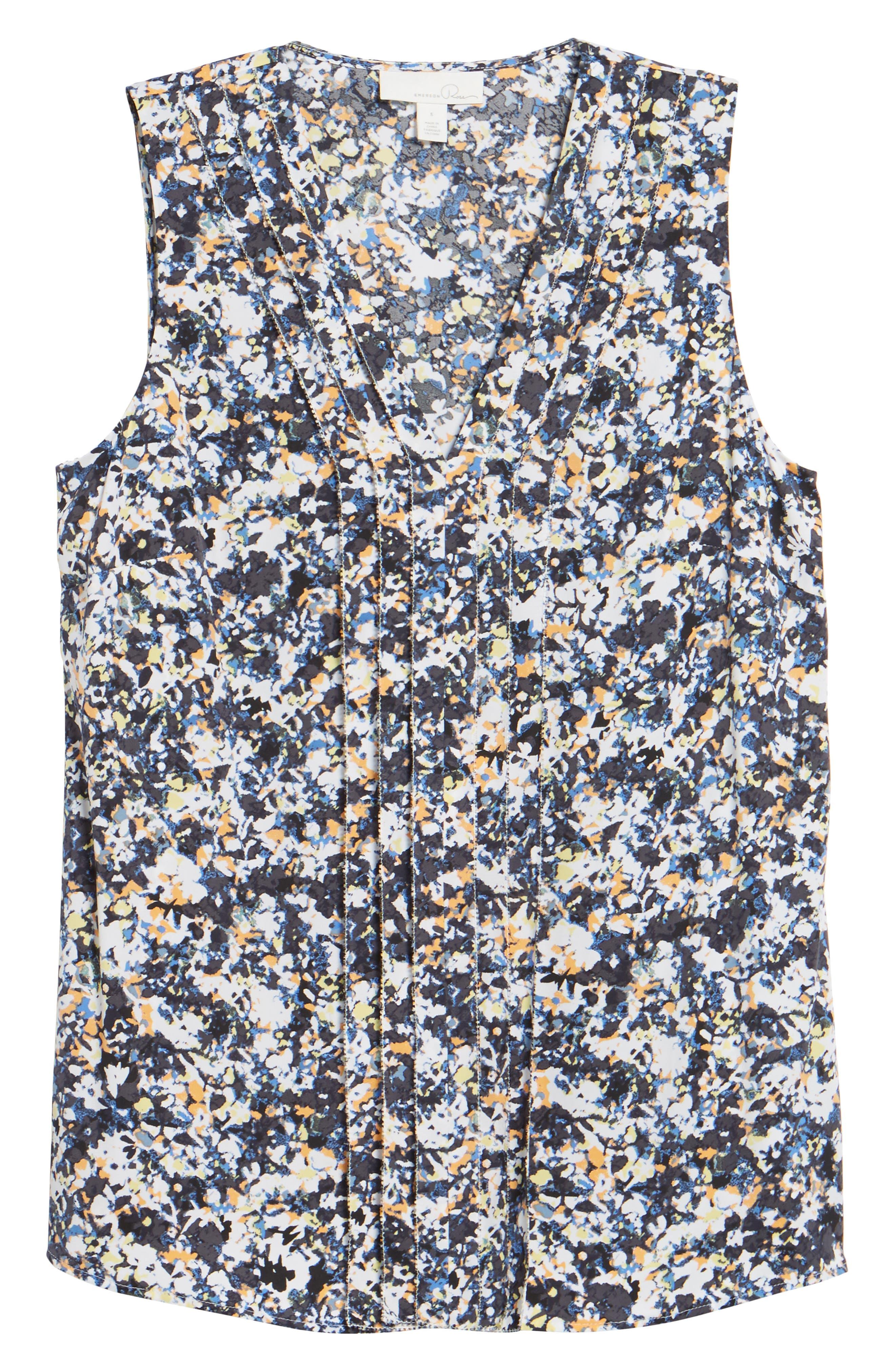Picot Detail Silk Blend Blouse,                             Alternate thumbnail 6, color,                             Grey Multi Camo Floral
