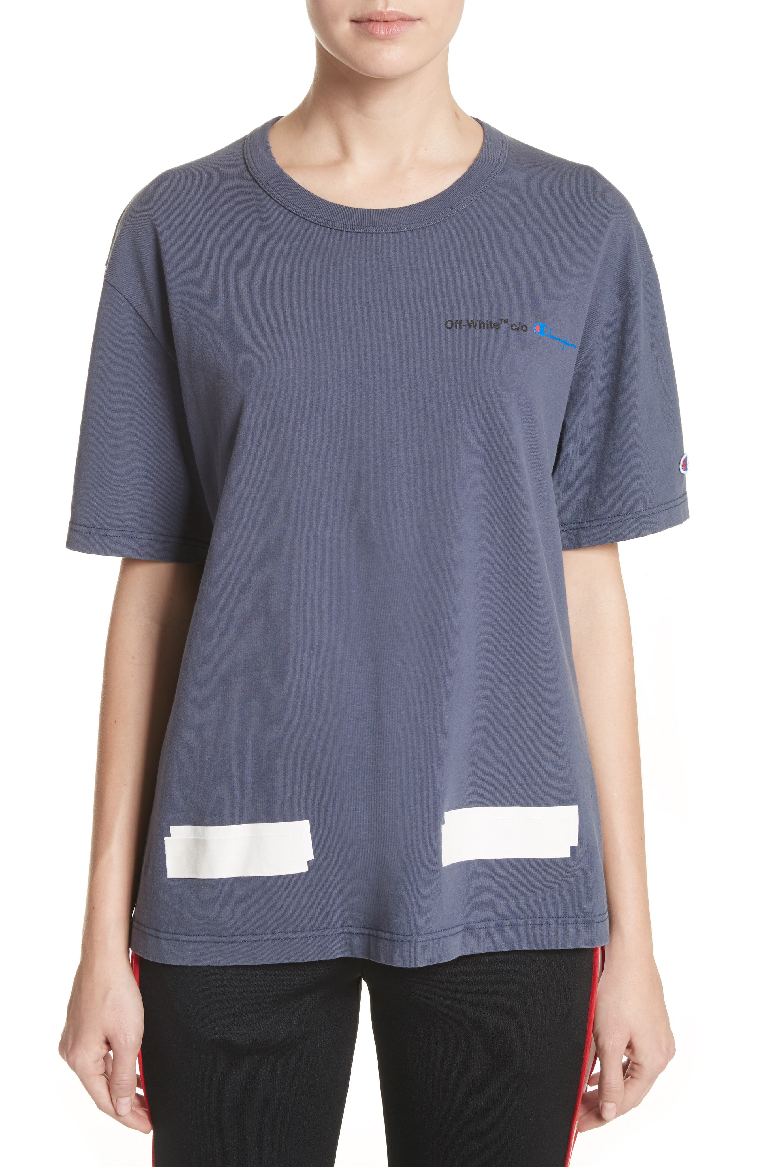 x Champion Tee,                         Main,                         color, Dusty Blue/ White