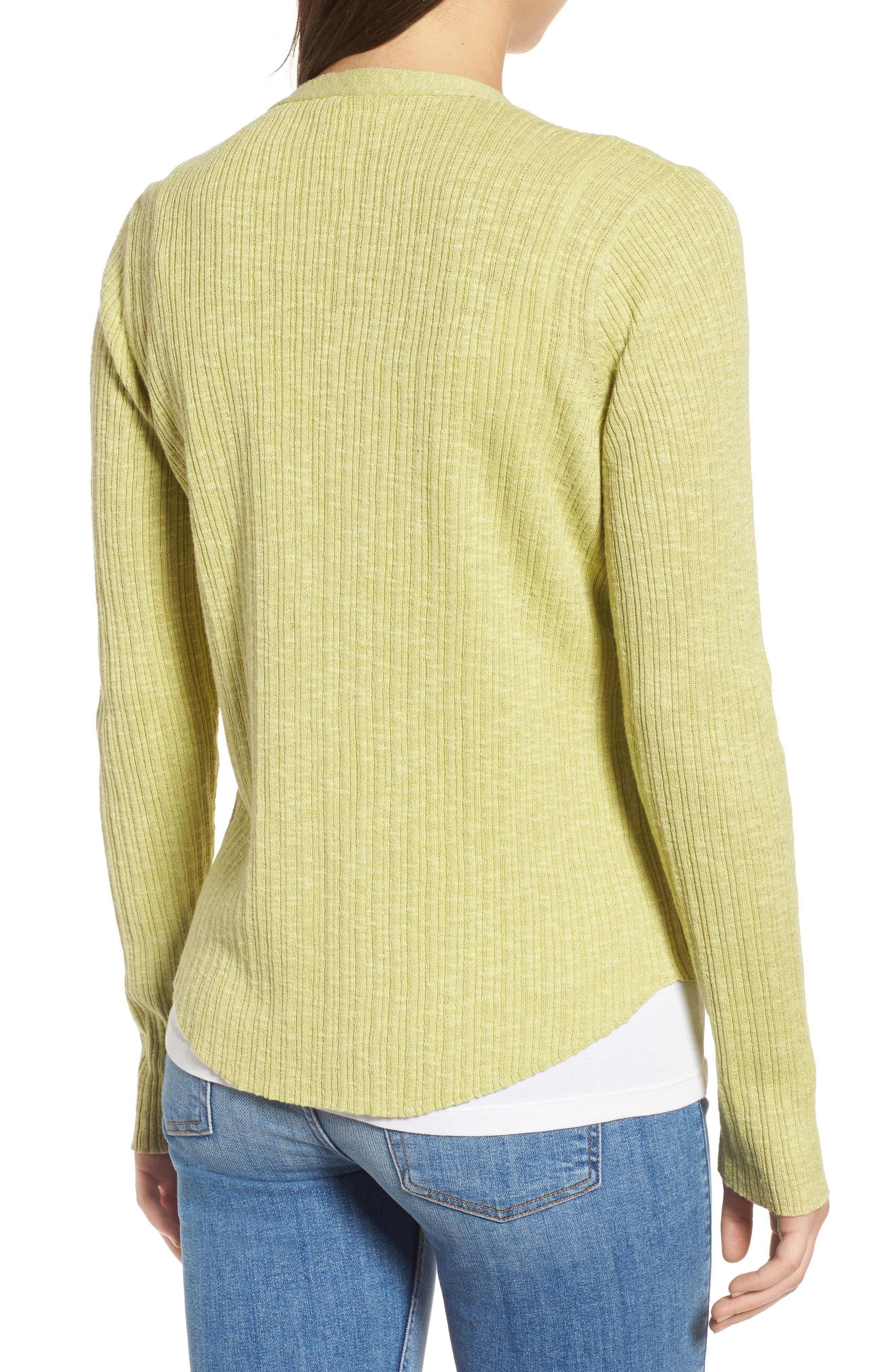 V-Neck Organic Linen & Cotton Cardigan,                             Alternate thumbnail 2, color,                             Verbena