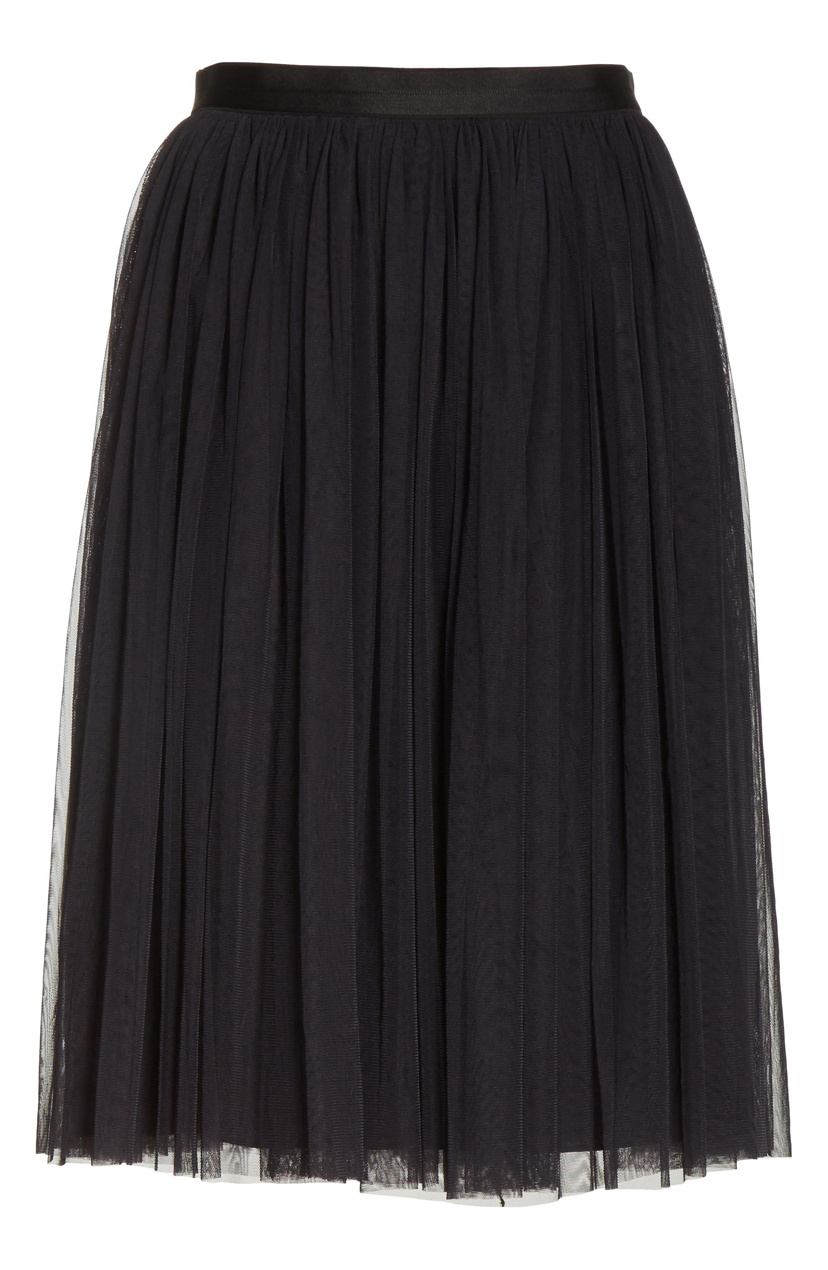 Pleated Tulle Skirt,                             Alternate thumbnail 6, color,                             Washed Black