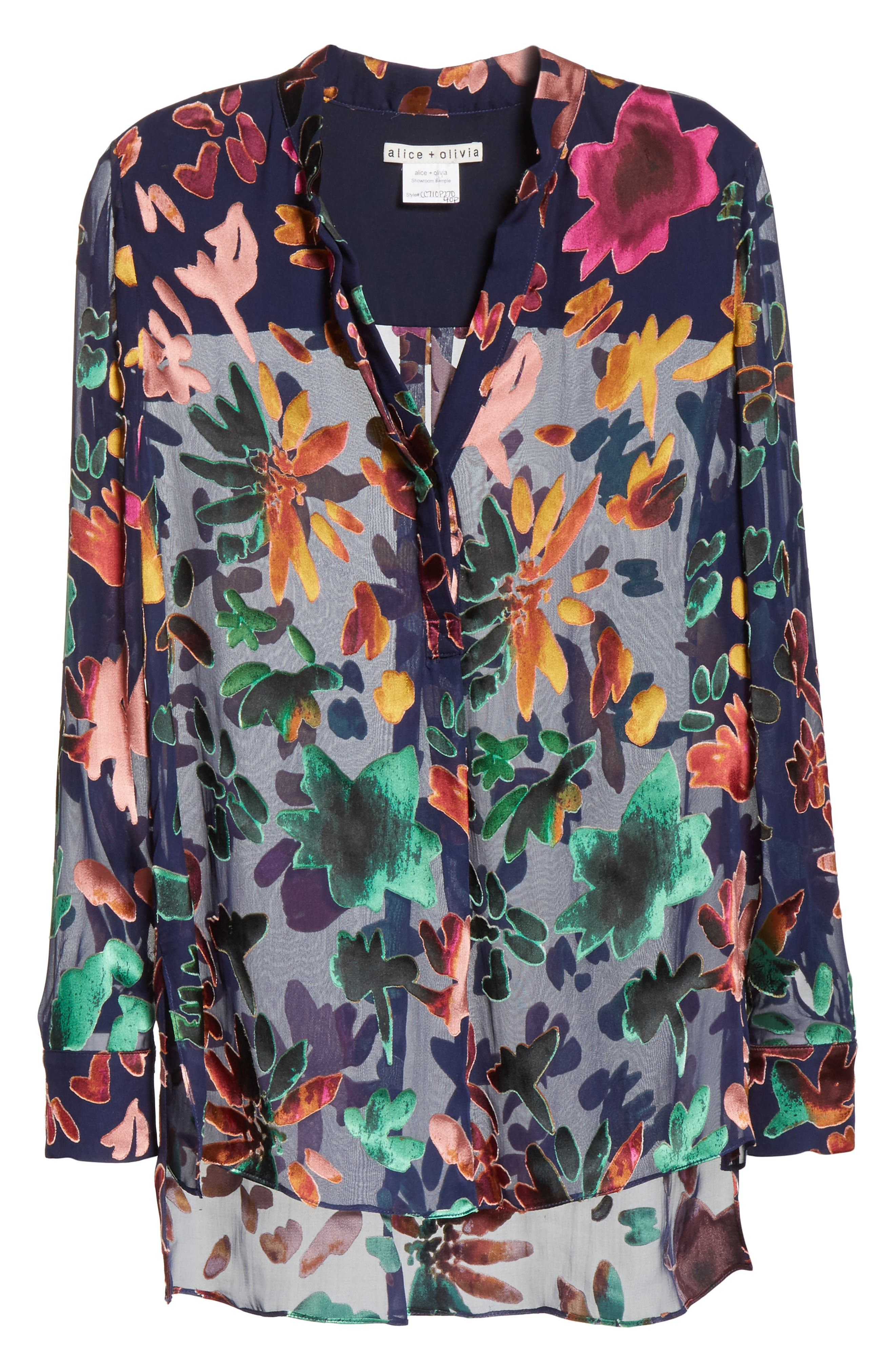 Alternate Image 6  - Alice + Olivia Amos Floral Burnout Velvet Tunic