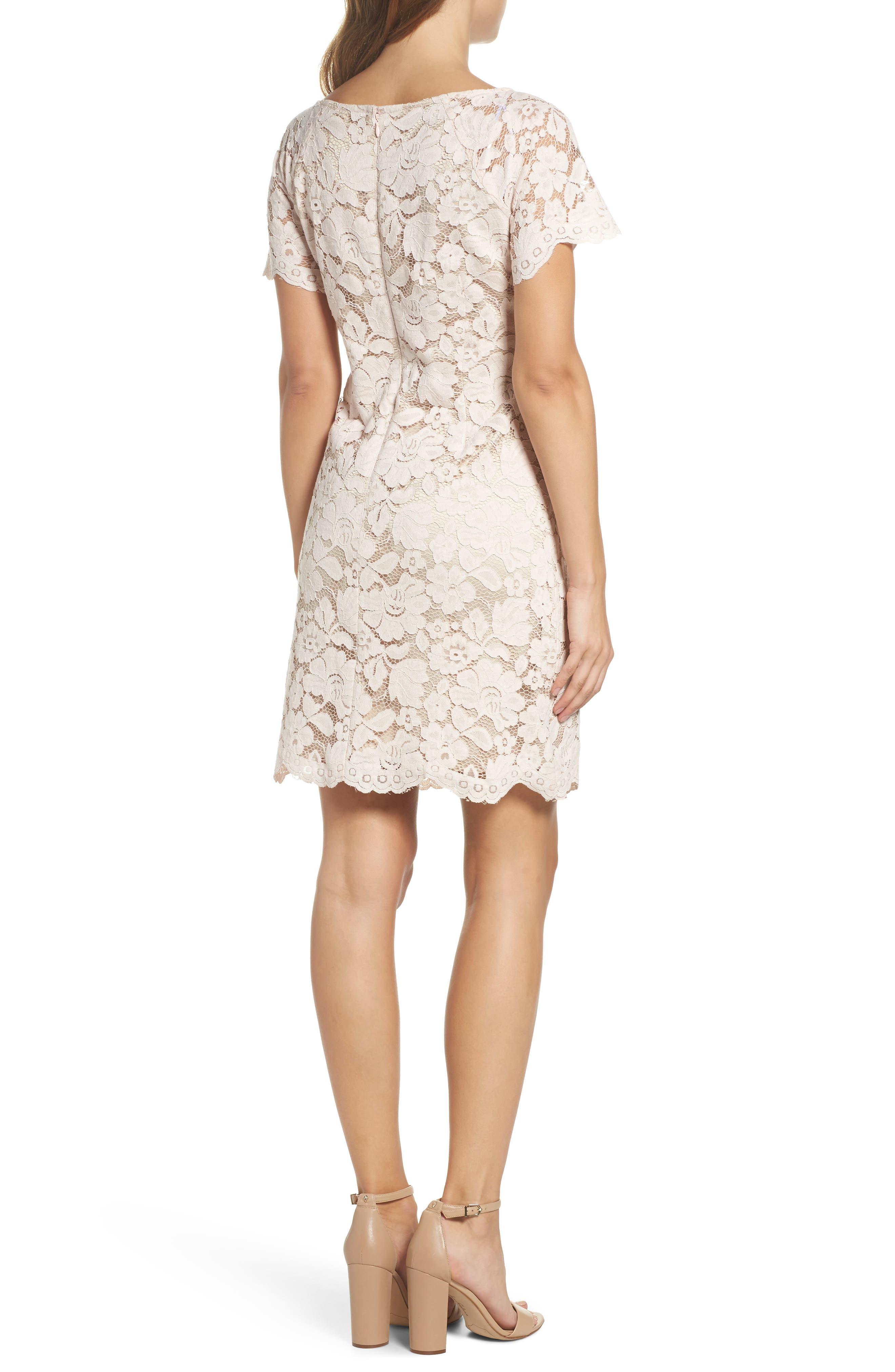 Lace Shift Dress,                             Alternate thumbnail 2, color,                             Blush