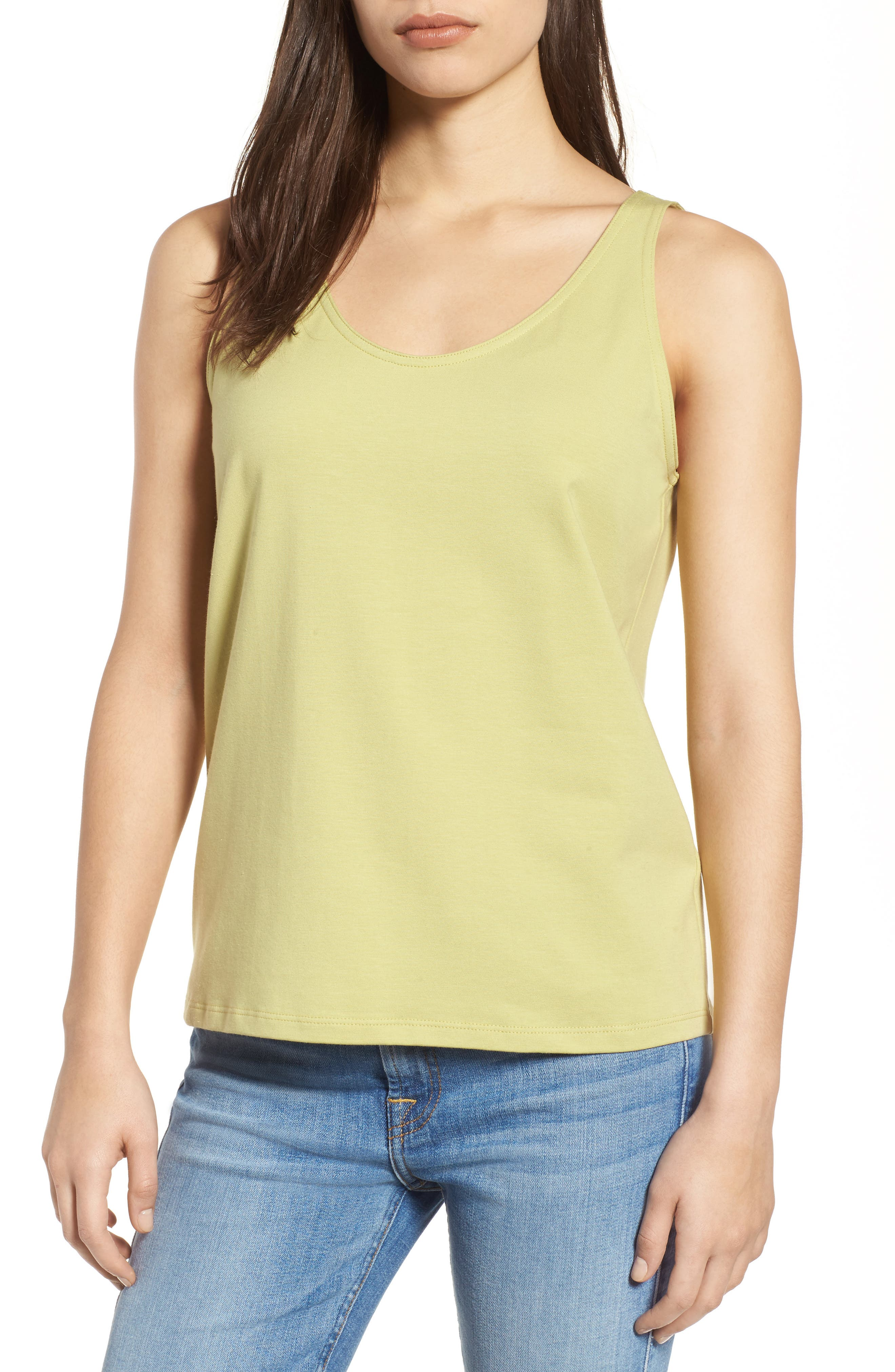 Alternate Image 1 Selected - Eileen Fisher Organic Cotton Stretch Jersey Tank