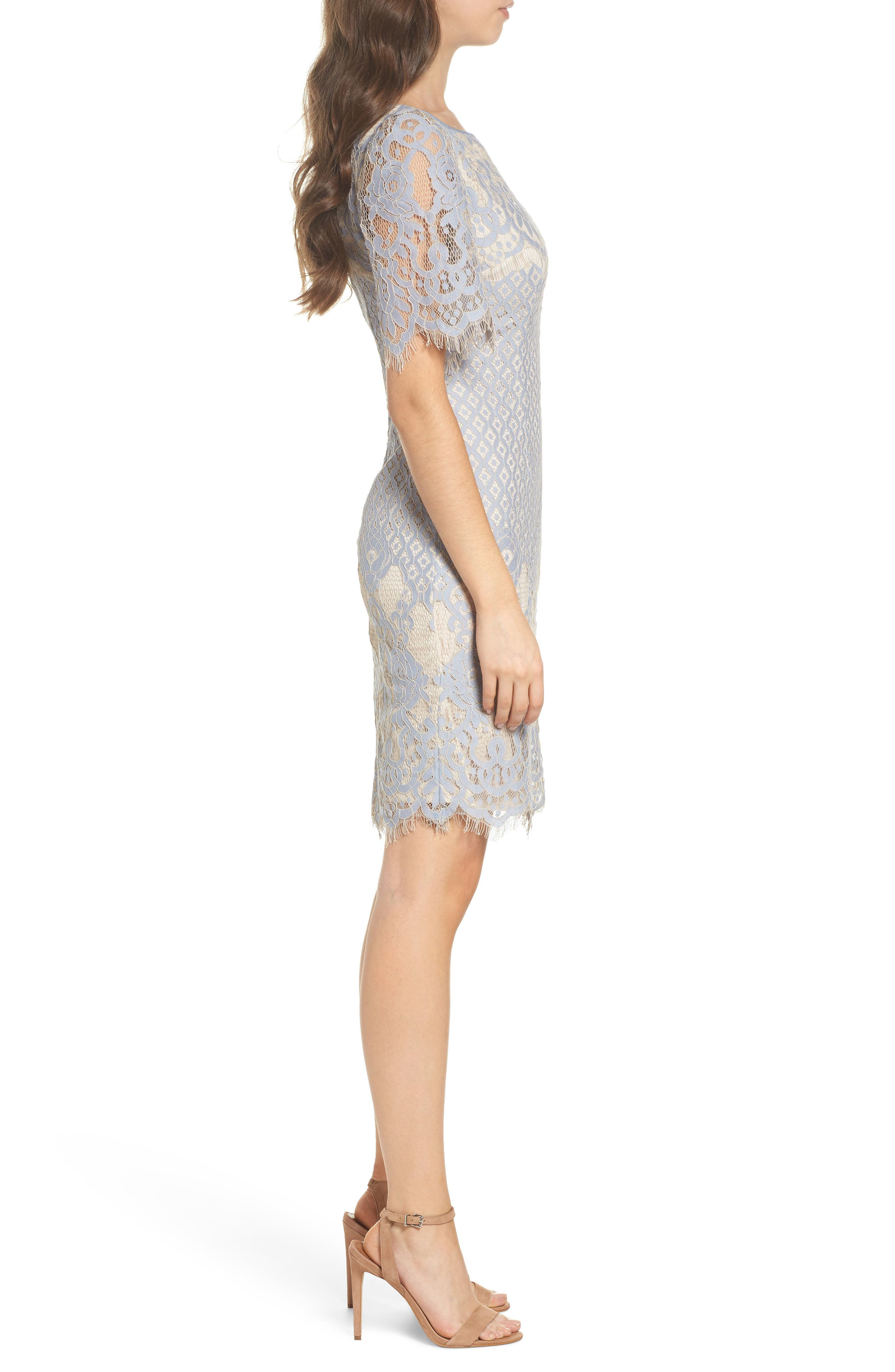 Alternate Image 3  - Adrianna Papell Georgia Lace Sheath Dress (Regular & Petite)
