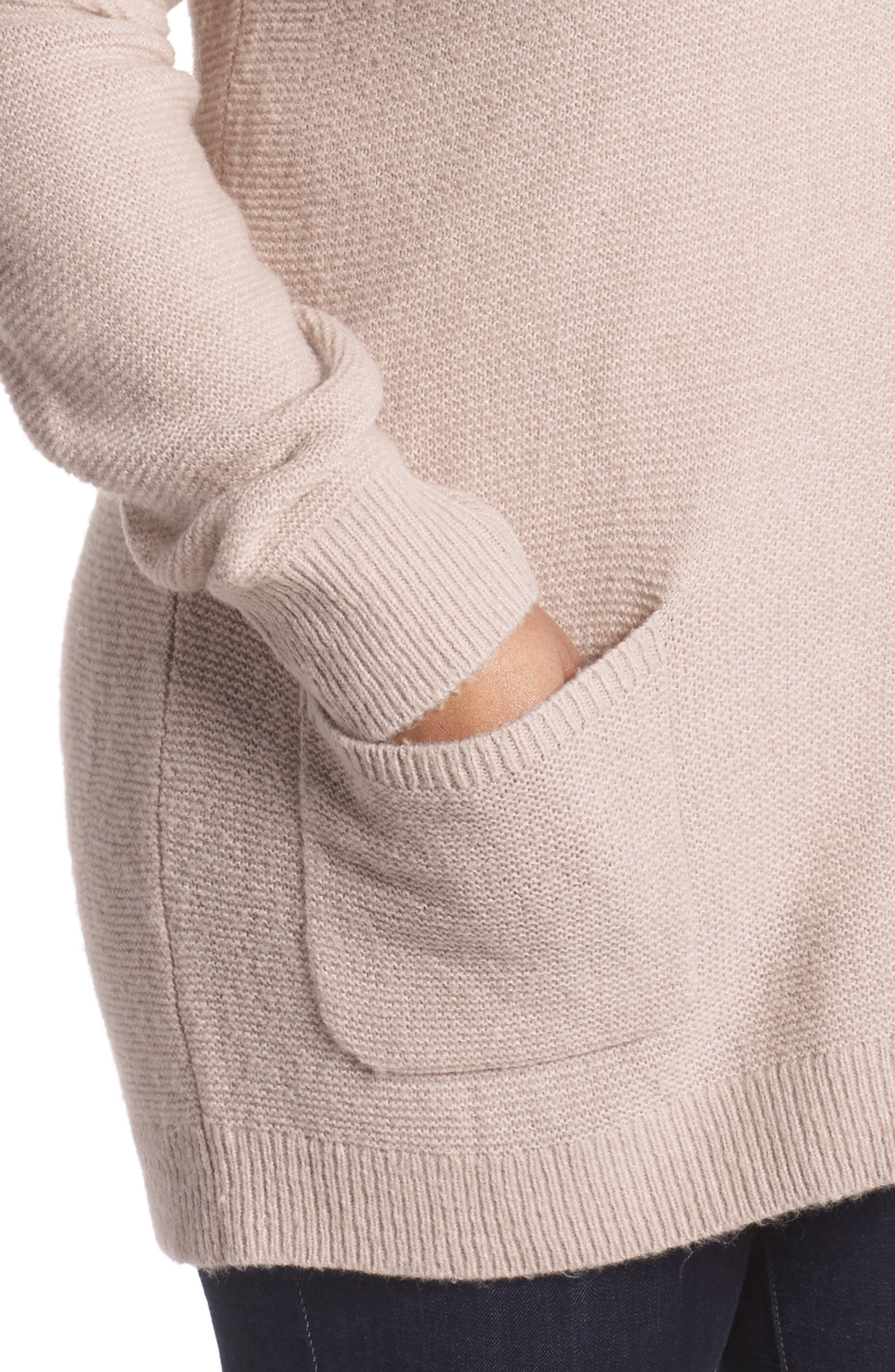 Alternate Image 4  - Caslon® Long V-Neck Wool Blend Cardigan (Plus Size)