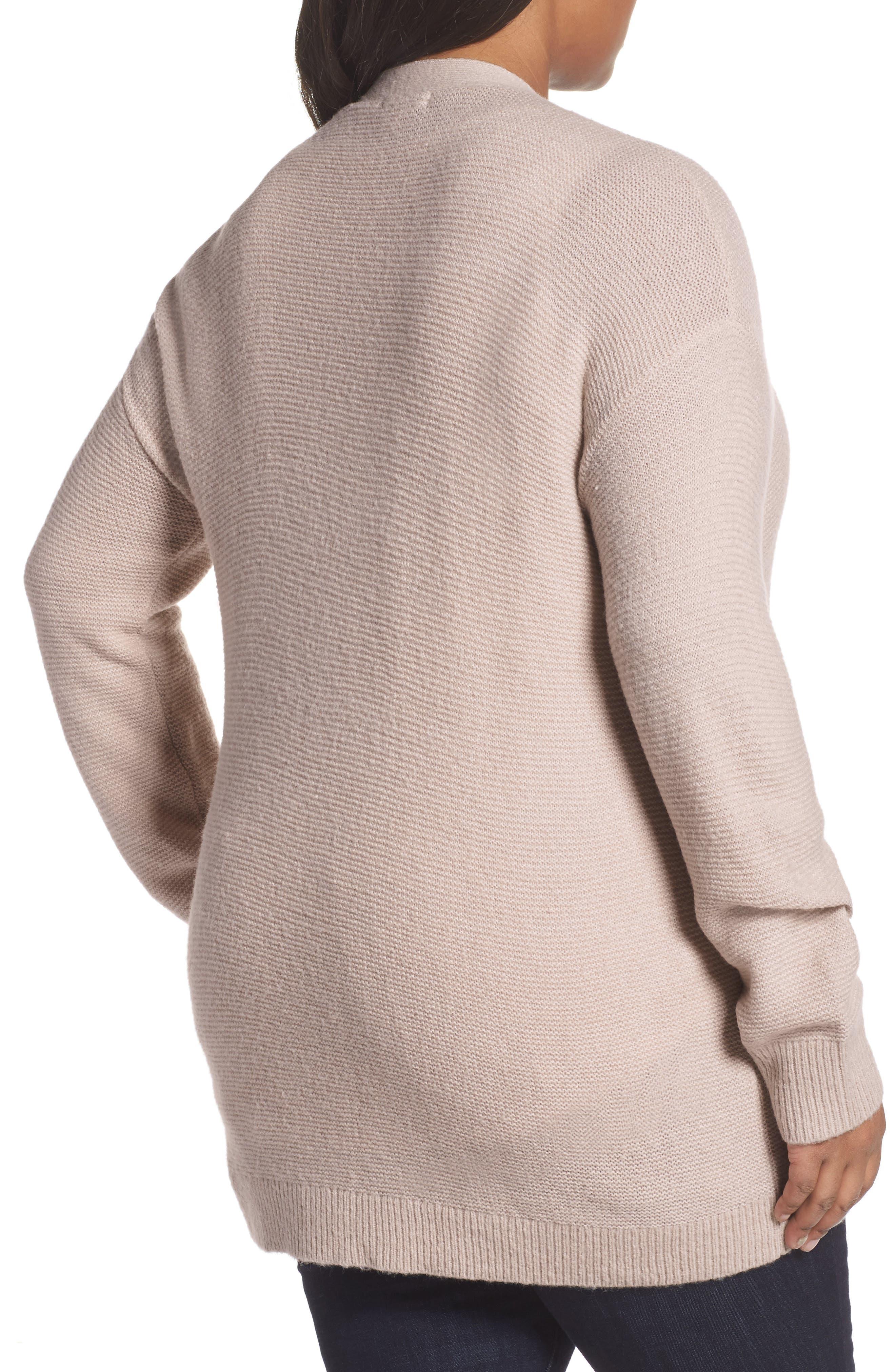 Alternate Image 2  - Caslon® Long V-Neck Wool Blend Cardigan (Plus Size)