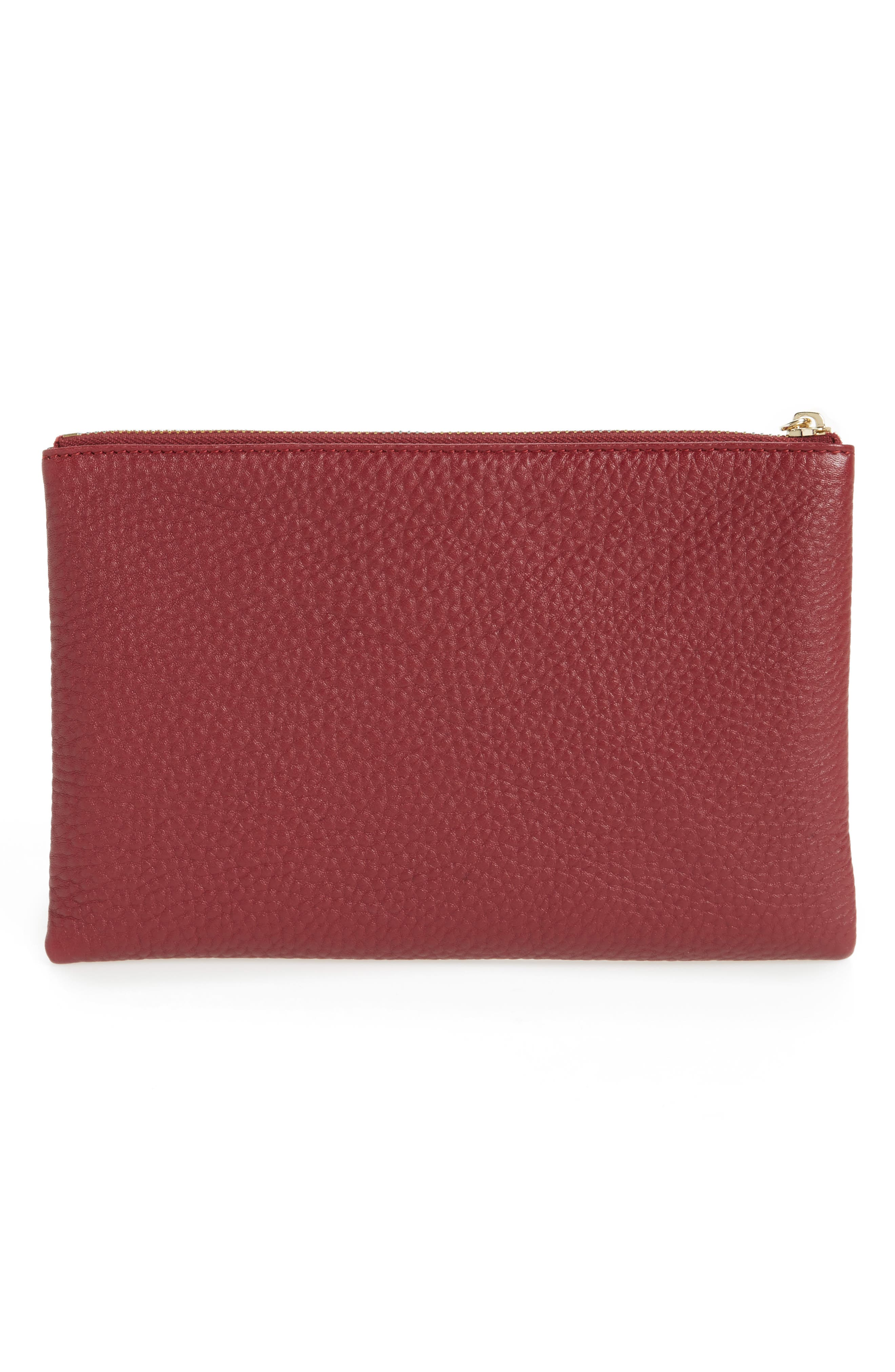 Céline Dion Adagio Leather Zip Pouch,                             Alternate thumbnail 2, color,                             Dark Red