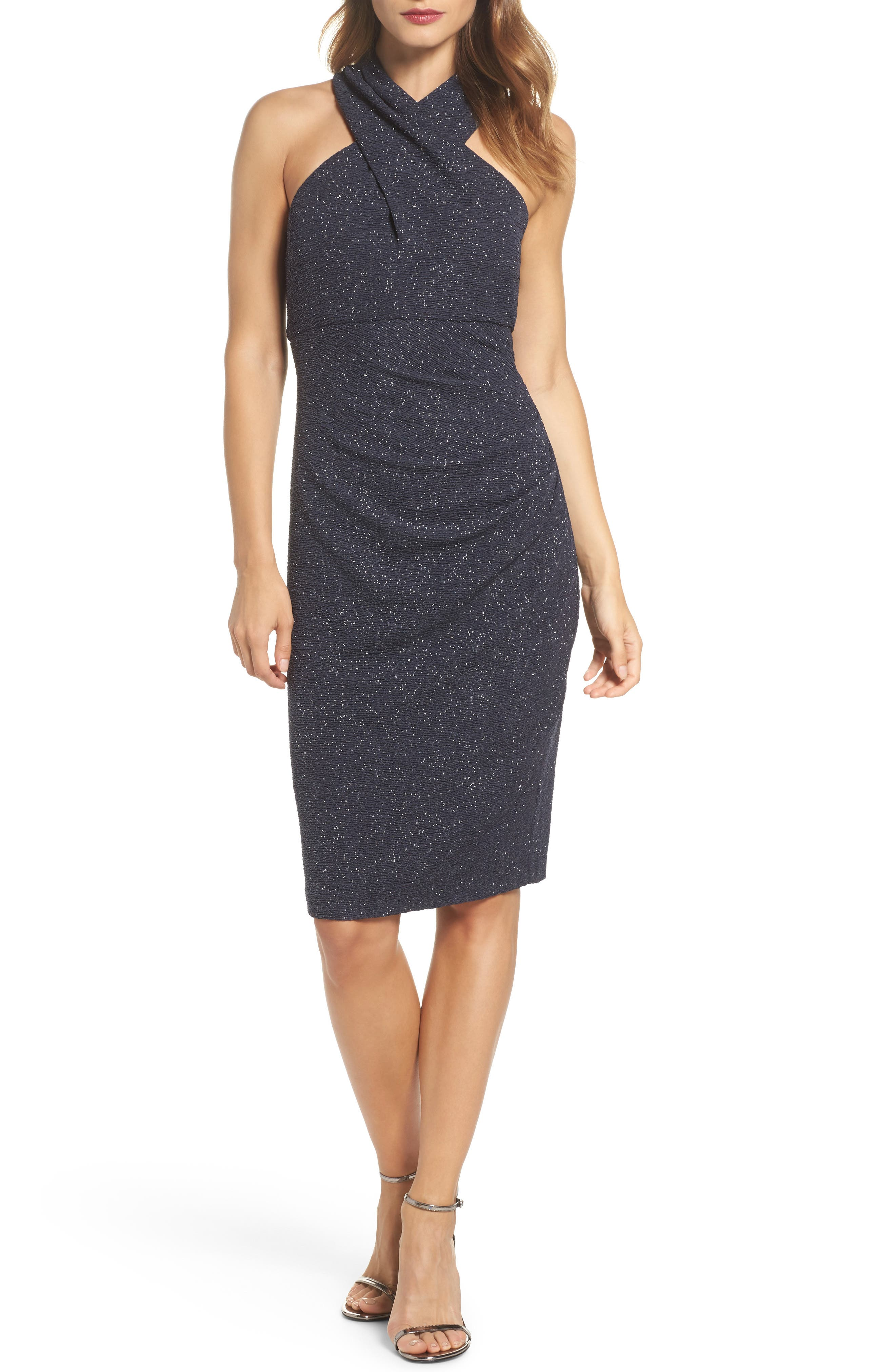 Glitter Halter Neck Sheath Dress,                         Main,                         color, Steel
