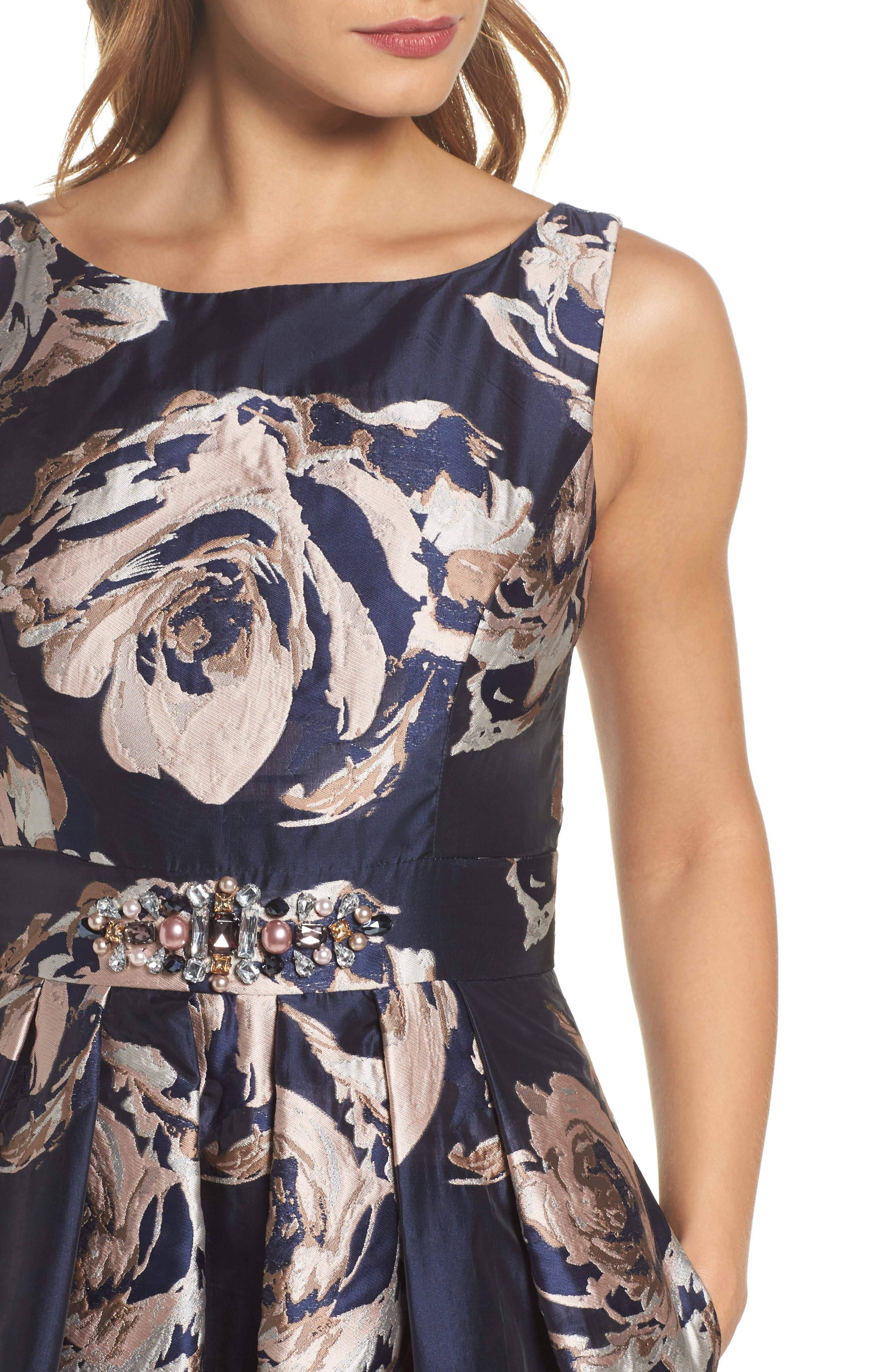Embellished Floral Ballgown,                             Alternate thumbnail 4, color,                             Navy