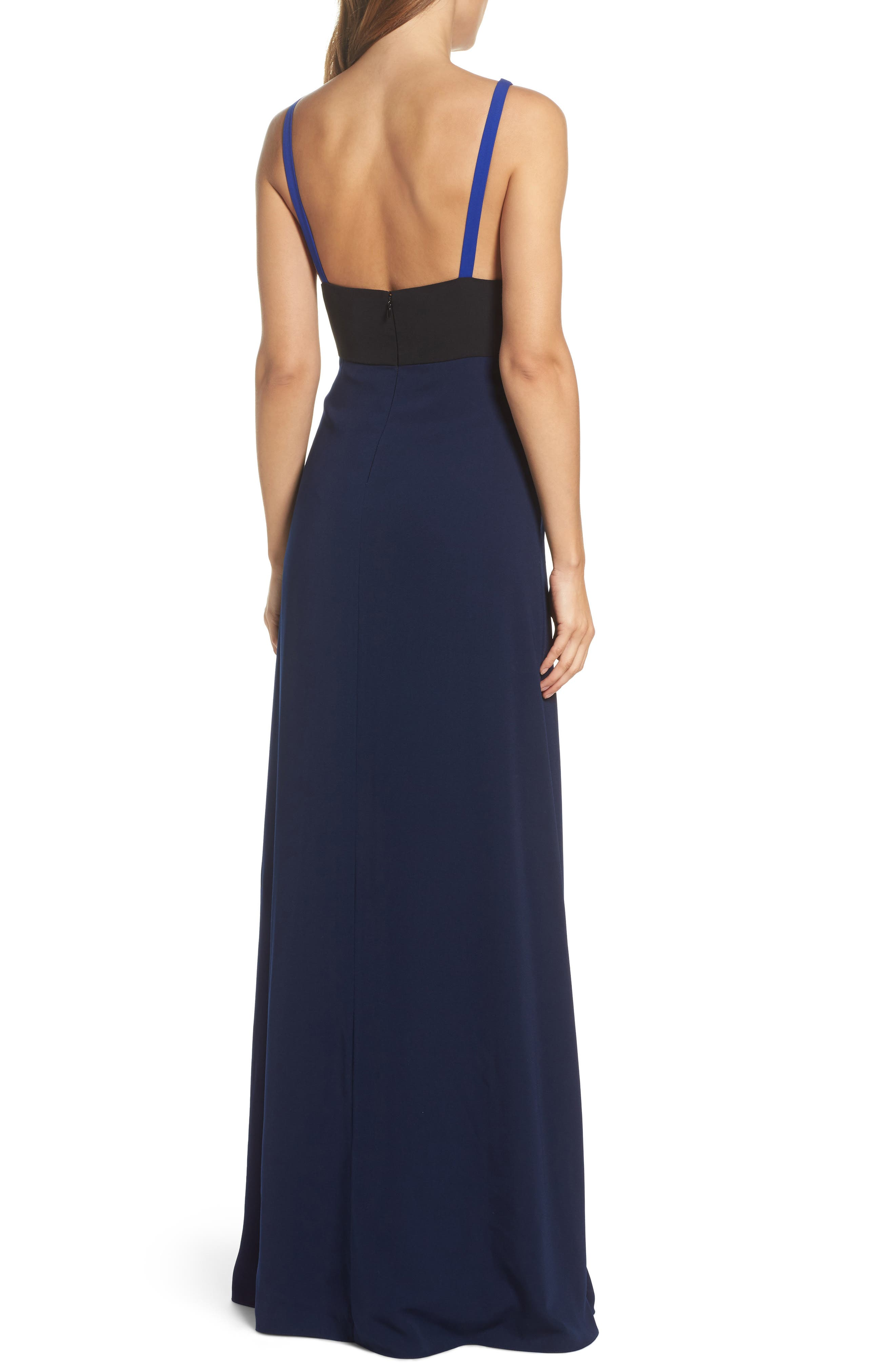 Colorblock V-Neck Gown,                             Alternate thumbnail 2, color,                             China Blue/ Black/ Midnight