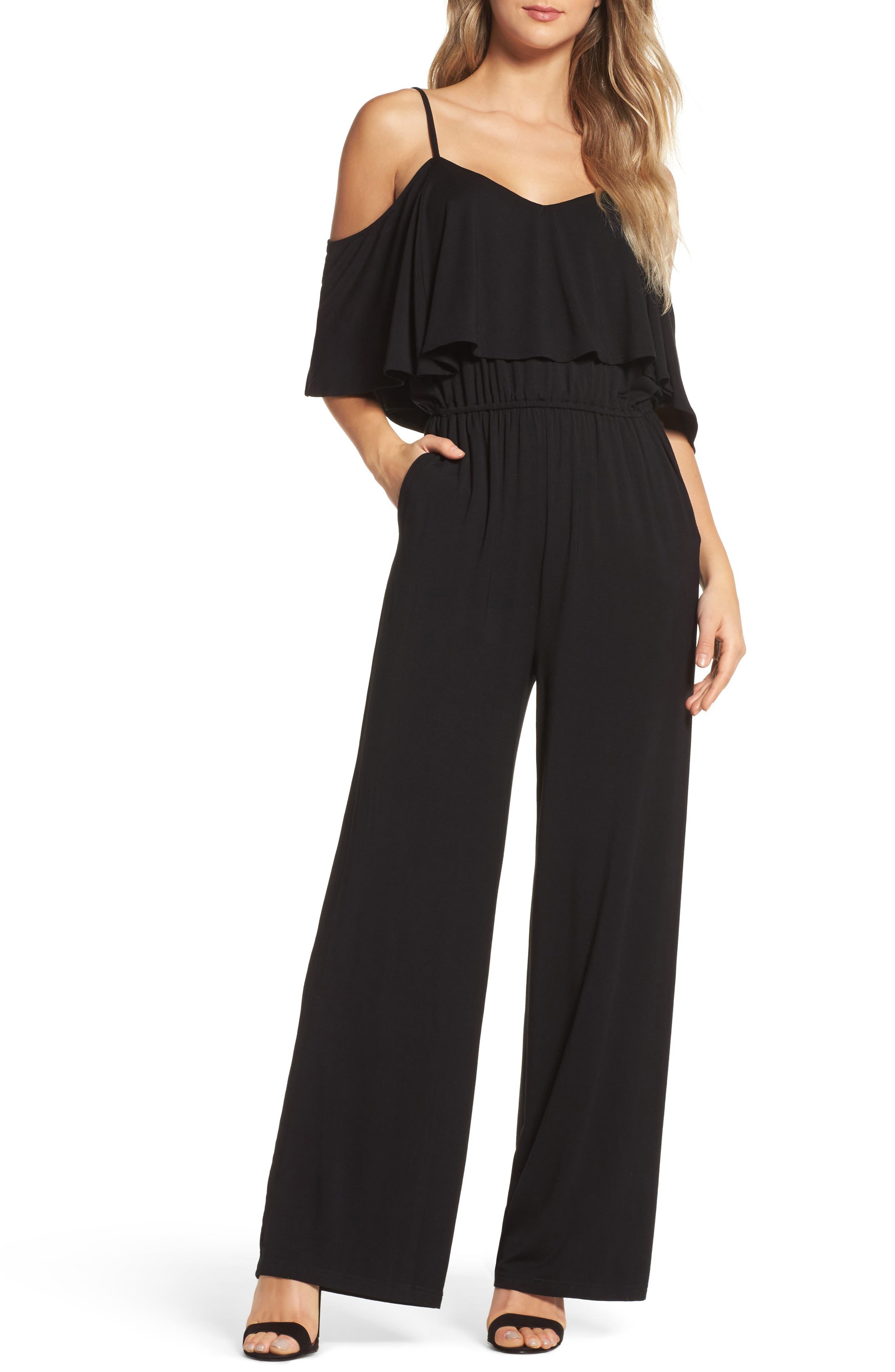 Claudette Cold-Shoulder Jumpsuit,                         Main,                         color, Black