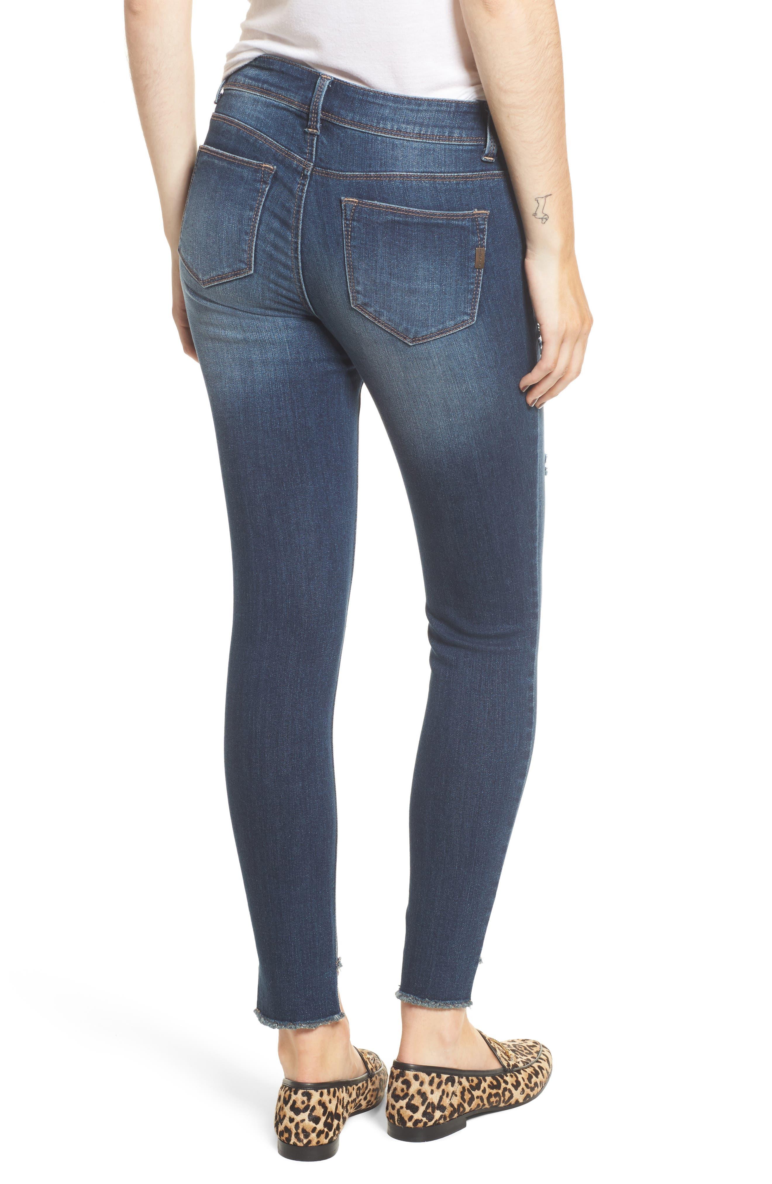 Alternate Image 2  - 1822 Denim Step Hem Skinny Jeans (Eleni)