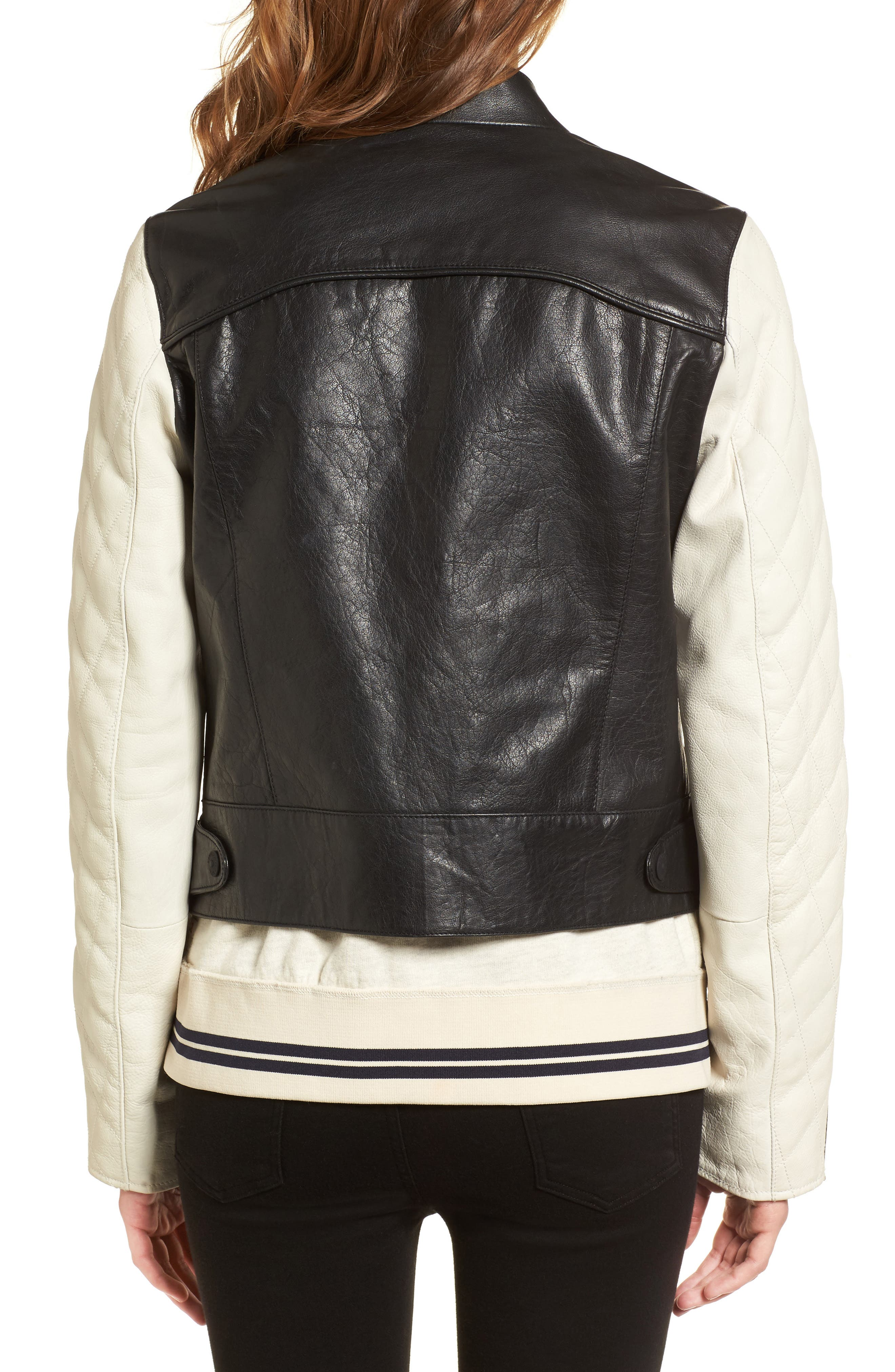 Quilted Sleeve Leather Biker Jacket,                             Alternate thumbnail 2, color,                             Black / Off White