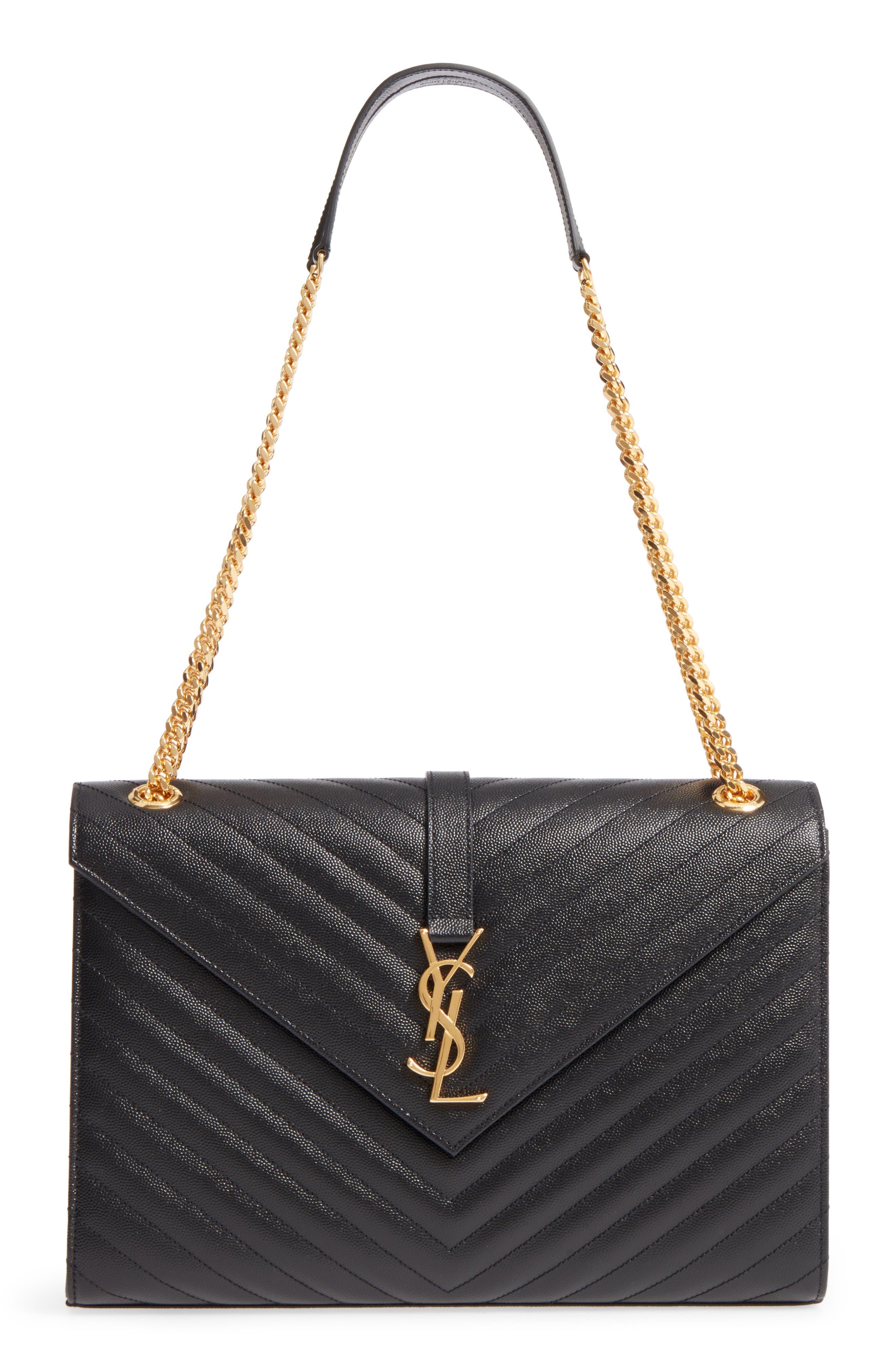 Medium Grained Matelassé Quilted Leather Shoulder Bag,                         Main,                         color, Noir