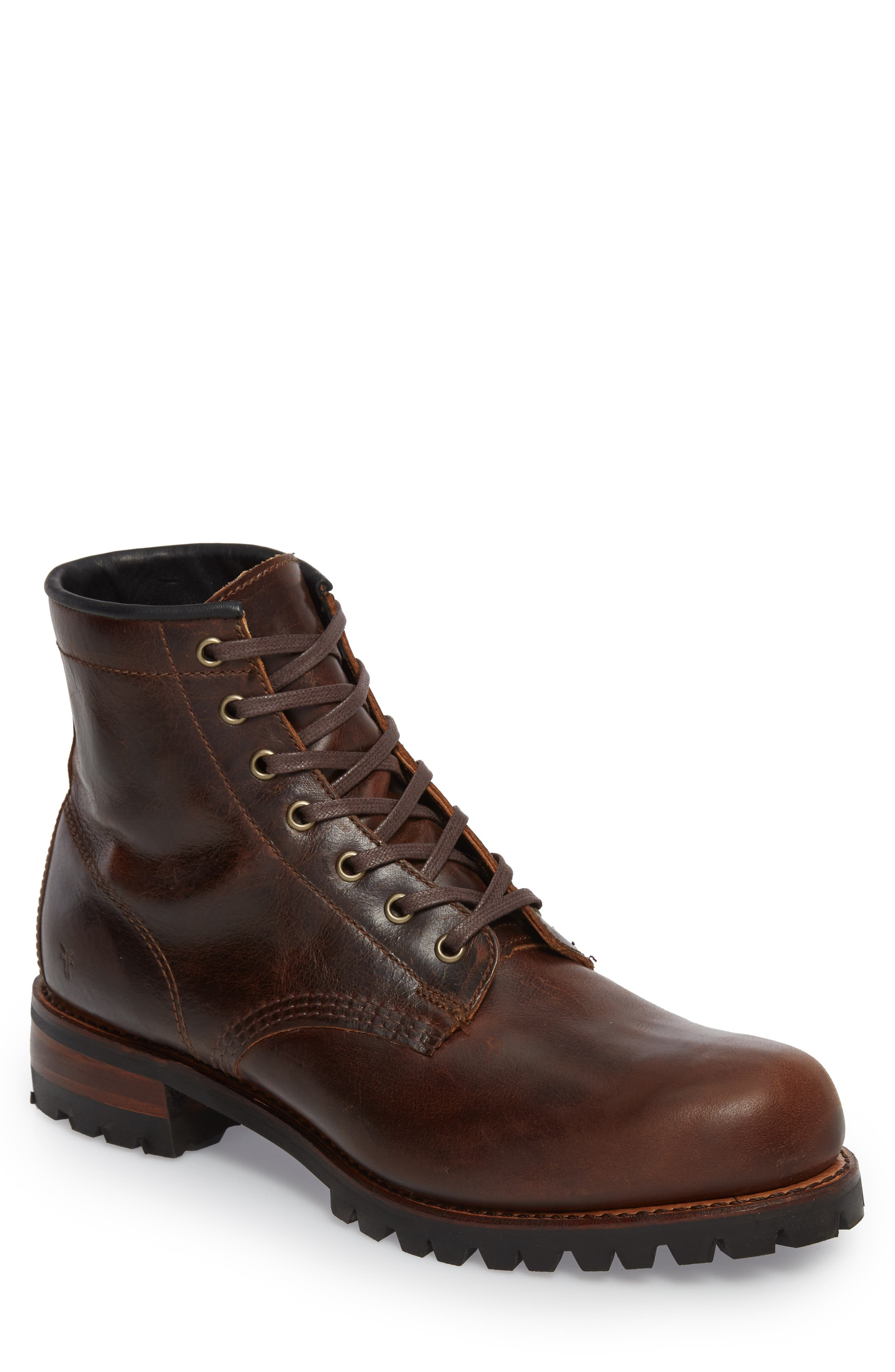 Addison Lace-Up Boot,                         Main,                         color, Dark Brown Leather