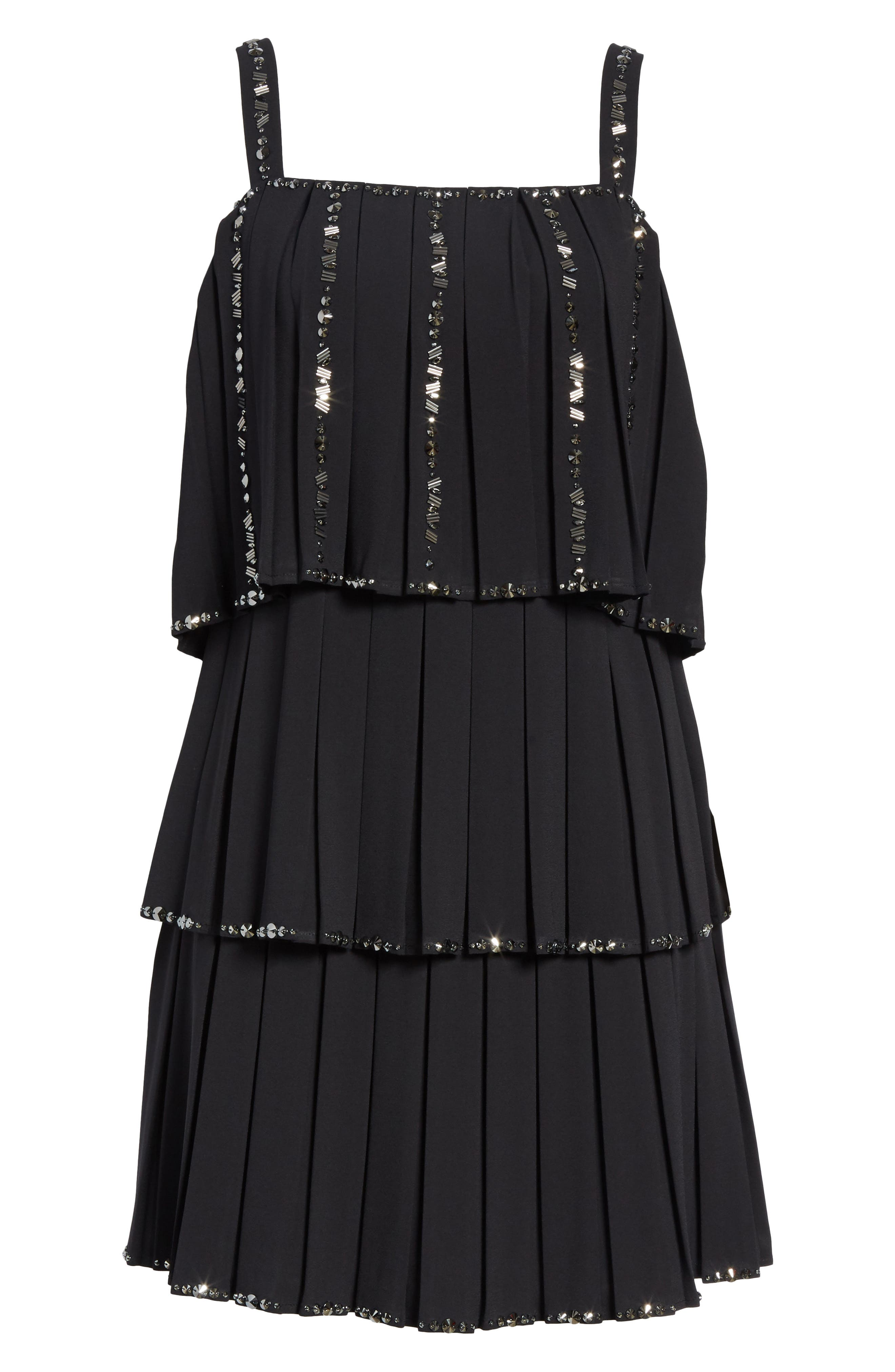 Embellished Pleat Tiered Dress,                             Alternate thumbnail 6, color,                             Black