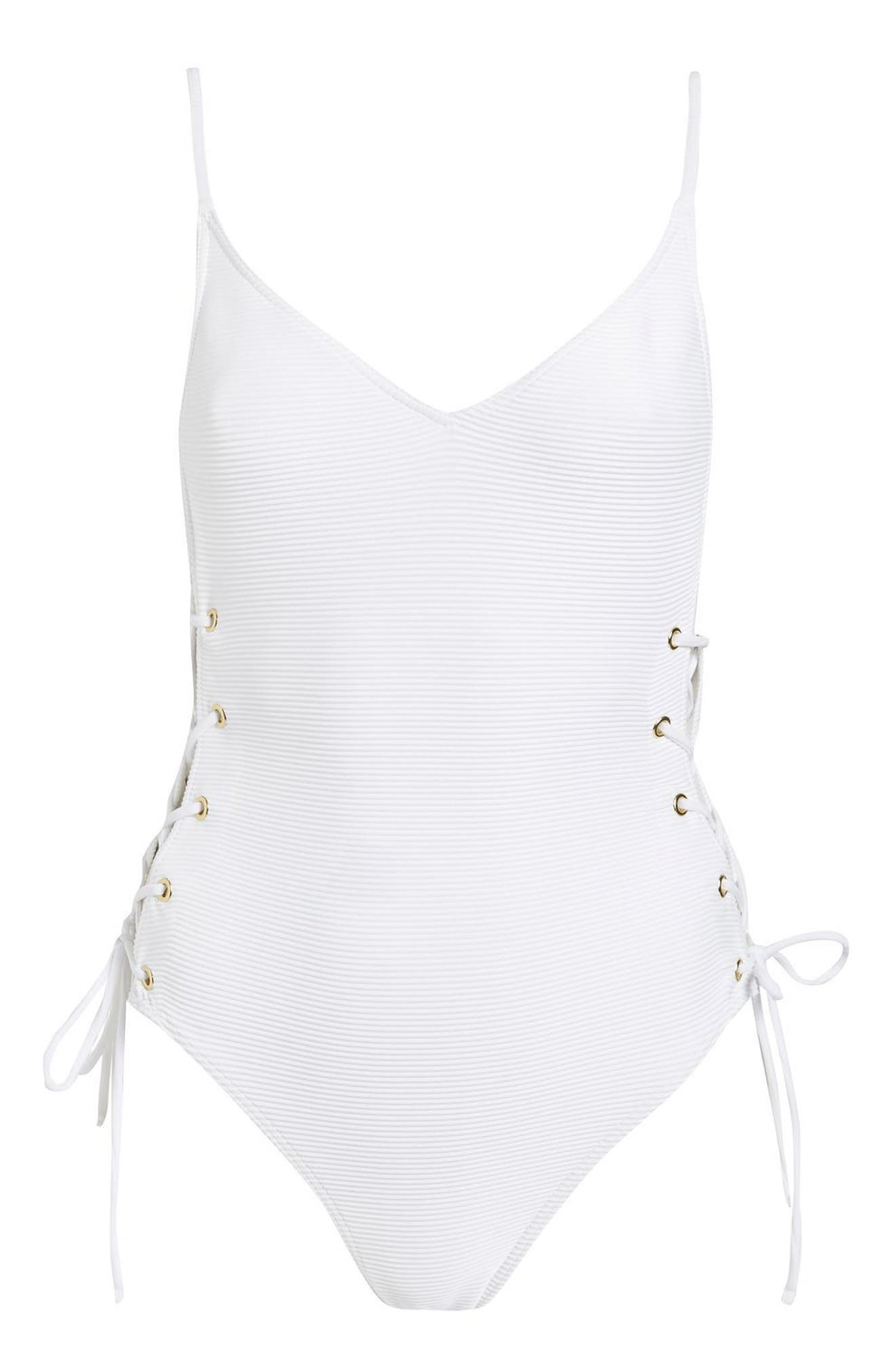 Ribbed Side Lace Swimsuit,                             Alternate thumbnail 2, color,                             White