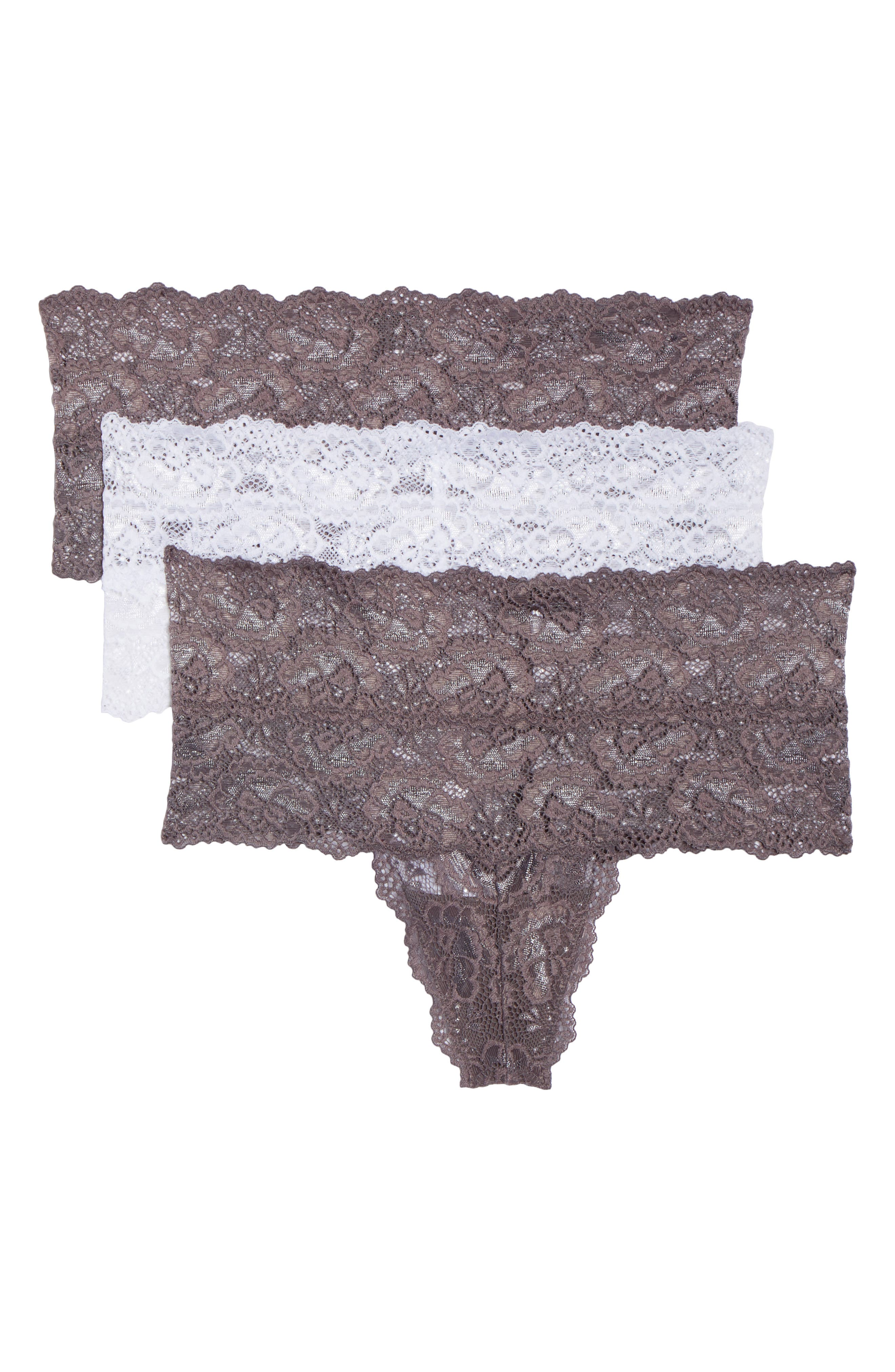 3-Pack Goddess High Rise Thongs,                         Main,                         color, Slate/ White/ Slate