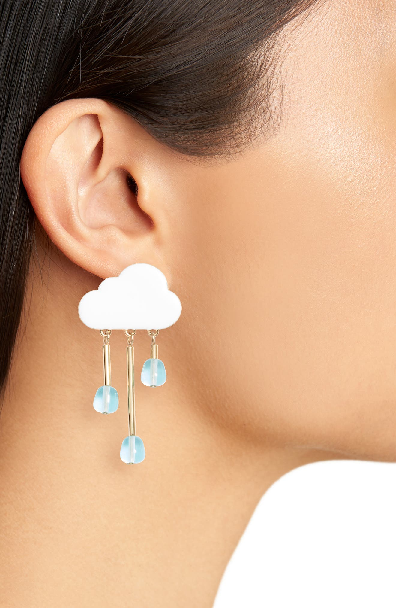 Chance of Rain Drop Earrings,                             Alternate thumbnail 2, color,                             White/ Gold