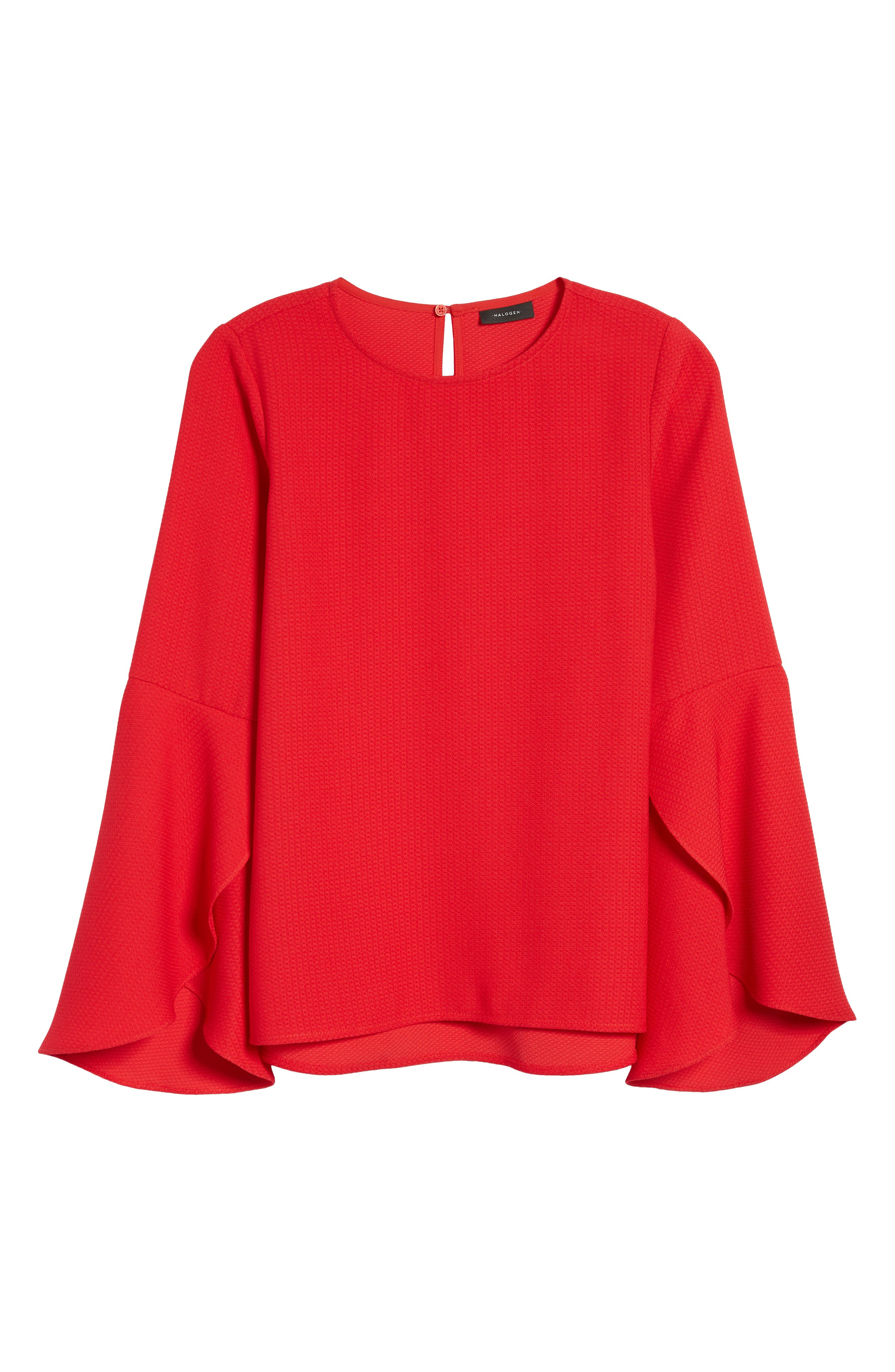 Bell Sleeve Top,                             Alternate thumbnail 6, color,                             Red Pepper