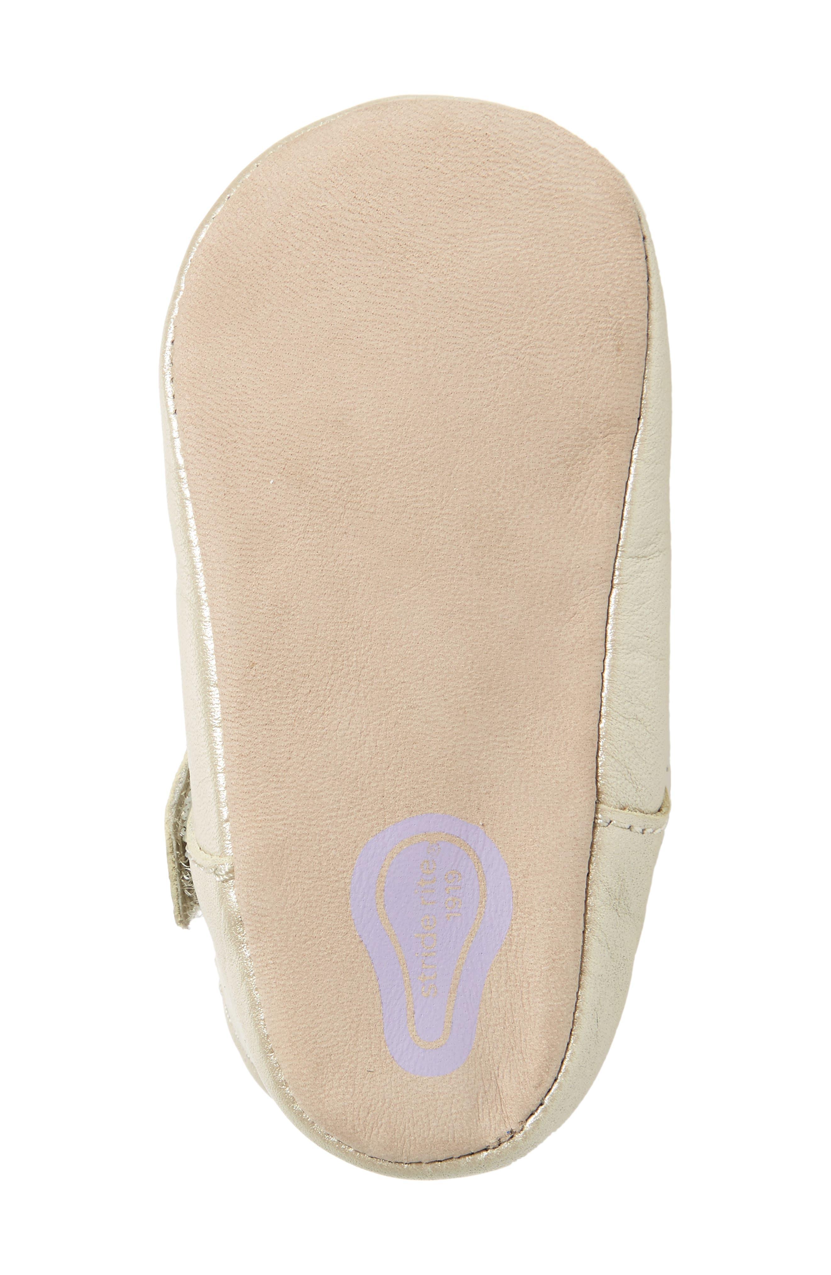 Liza Mary Jane Crib Shoe,                             Alternate thumbnail 6, color,                             Champagne Leather