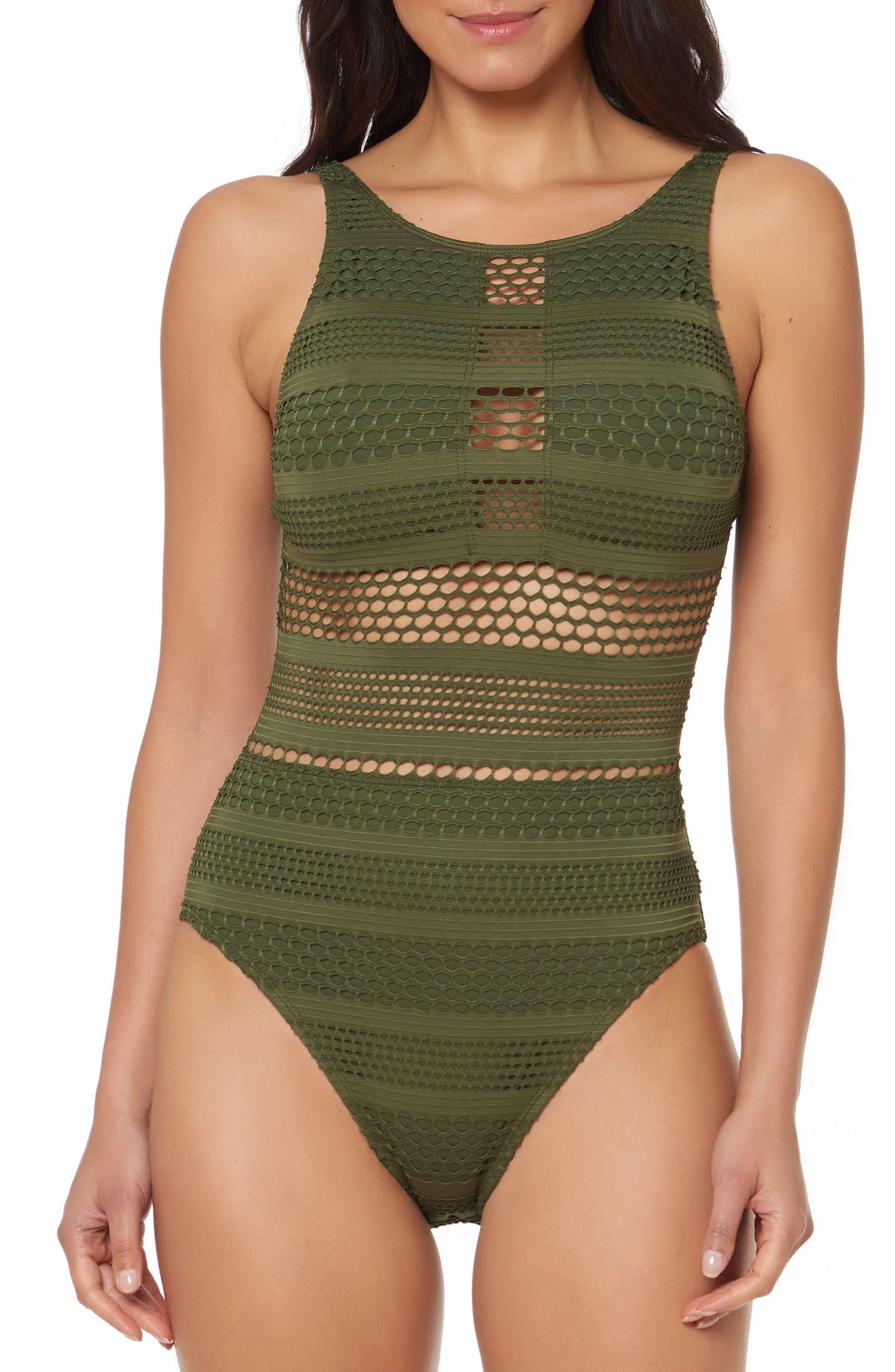 BLEU by Rod Beattie Crochet One-Piece Swimsuit,                             Main thumbnail 1, color,                             Amazon Green