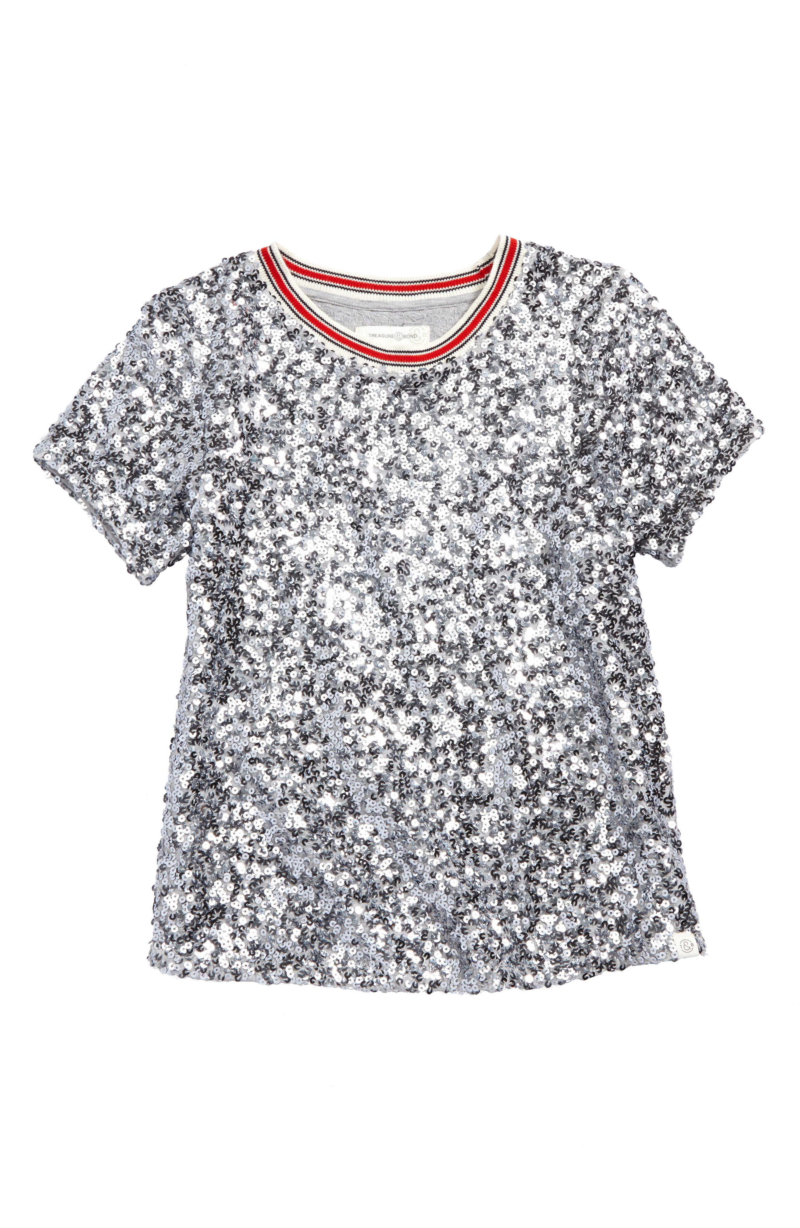 Sequin Ringer Tee,                             Main thumbnail 1, color,                             Silver