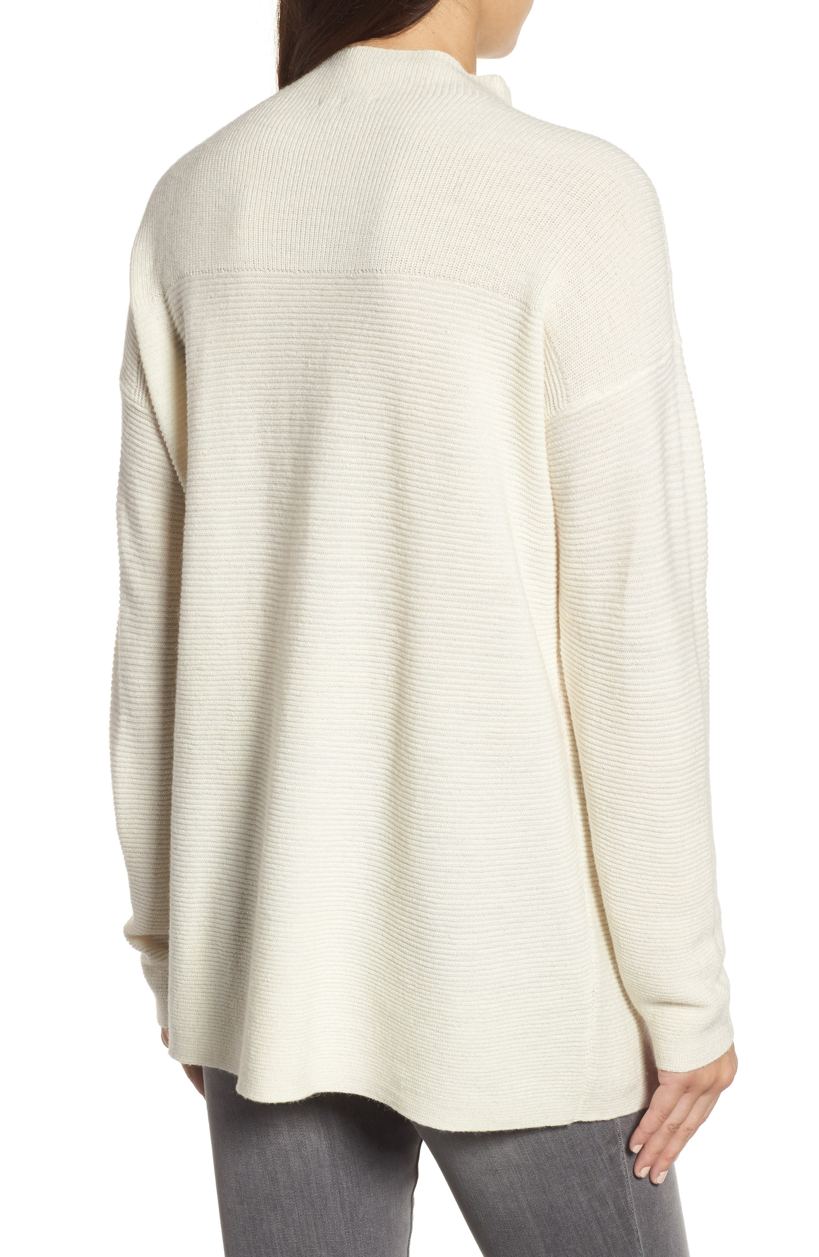Ribbed Wool Blend Sweater,                             Alternate thumbnail 3, color,                             Soft White