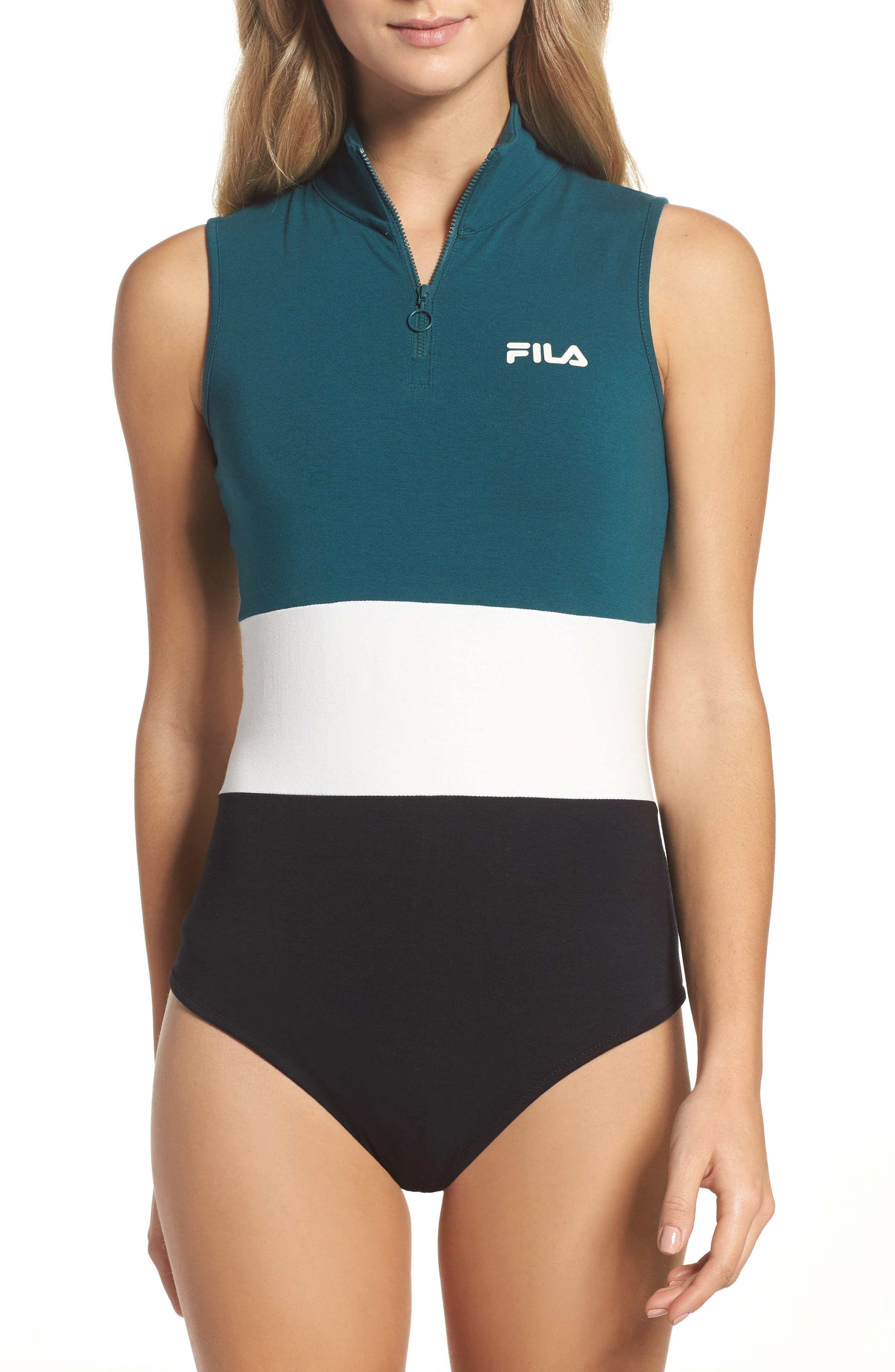Bianca Bodysuit,                         Main,                         color, Deep Teal/ Gardenia/ Black