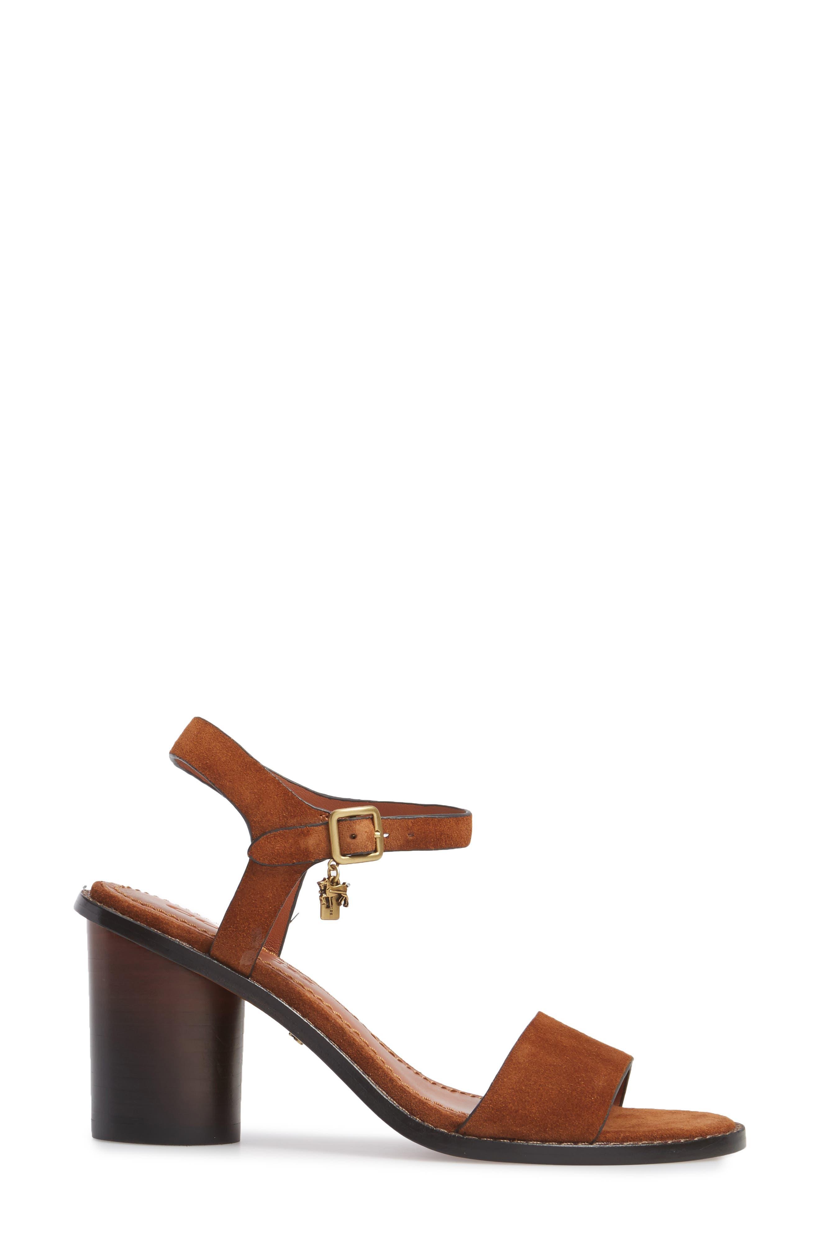 Column Heel Sandal,                             Alternate thumbnail 3, color,                             Saddle Suede