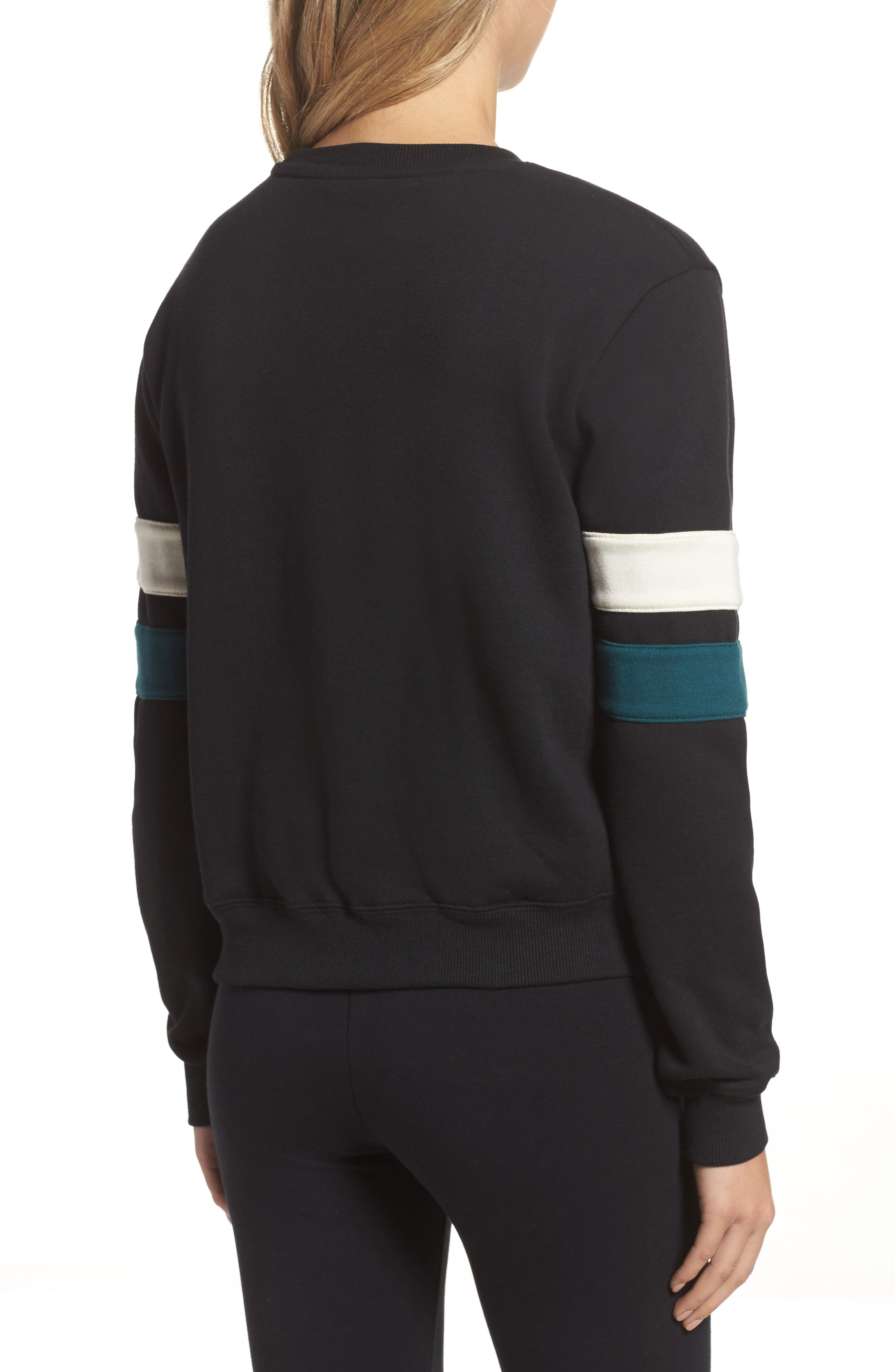 Newton Sweatshirt,                             Alternate thumbnail 2, color,                             Black/ Deep Teal/ Gardenia