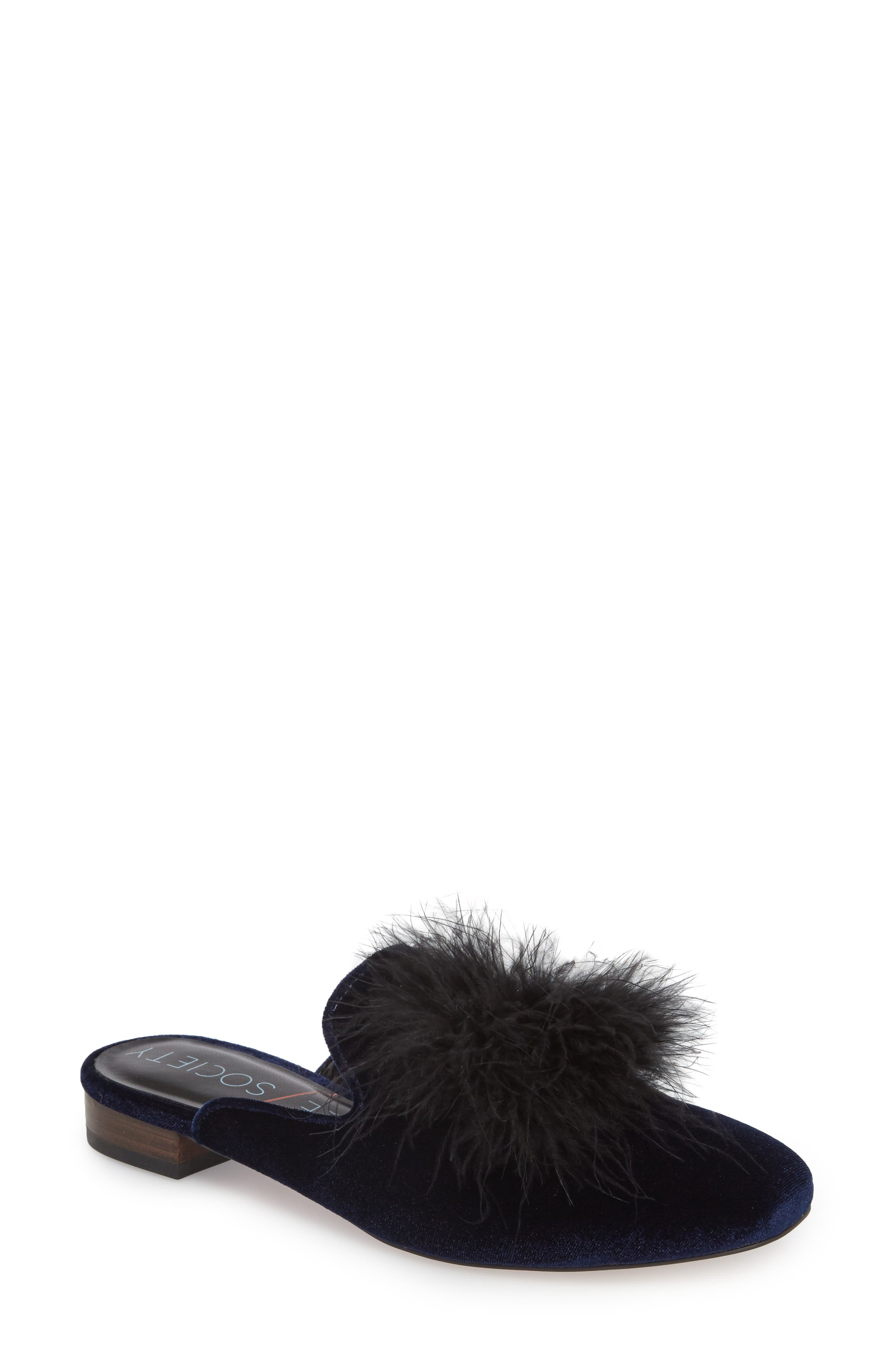 Cleona Feather Pompom Mule,                             Main thumbnail 1, color,                             Navy