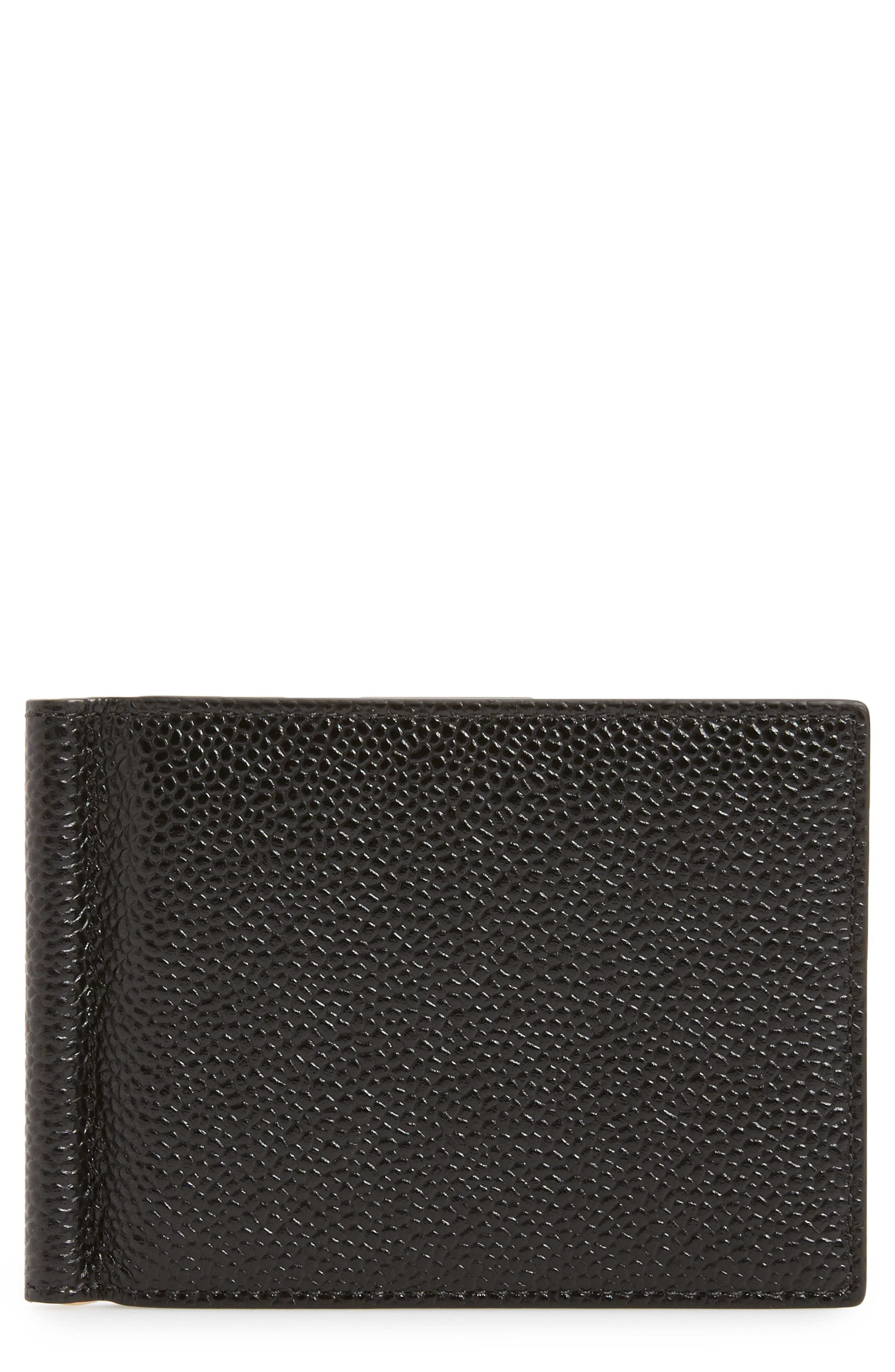 Thom Browne Pebble Grained Leather Card Case with Money Clip