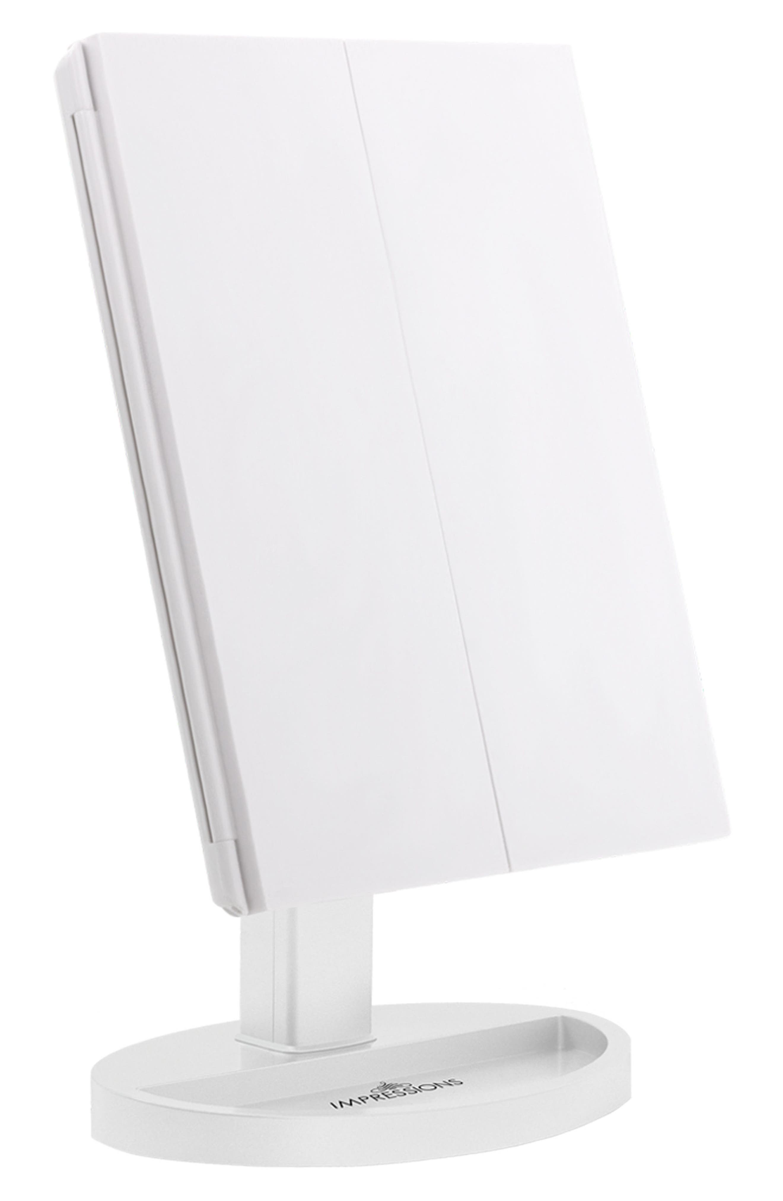 Touch Trifold XL Dimmable LED Makeup Mirror,                         Main,                         color, White