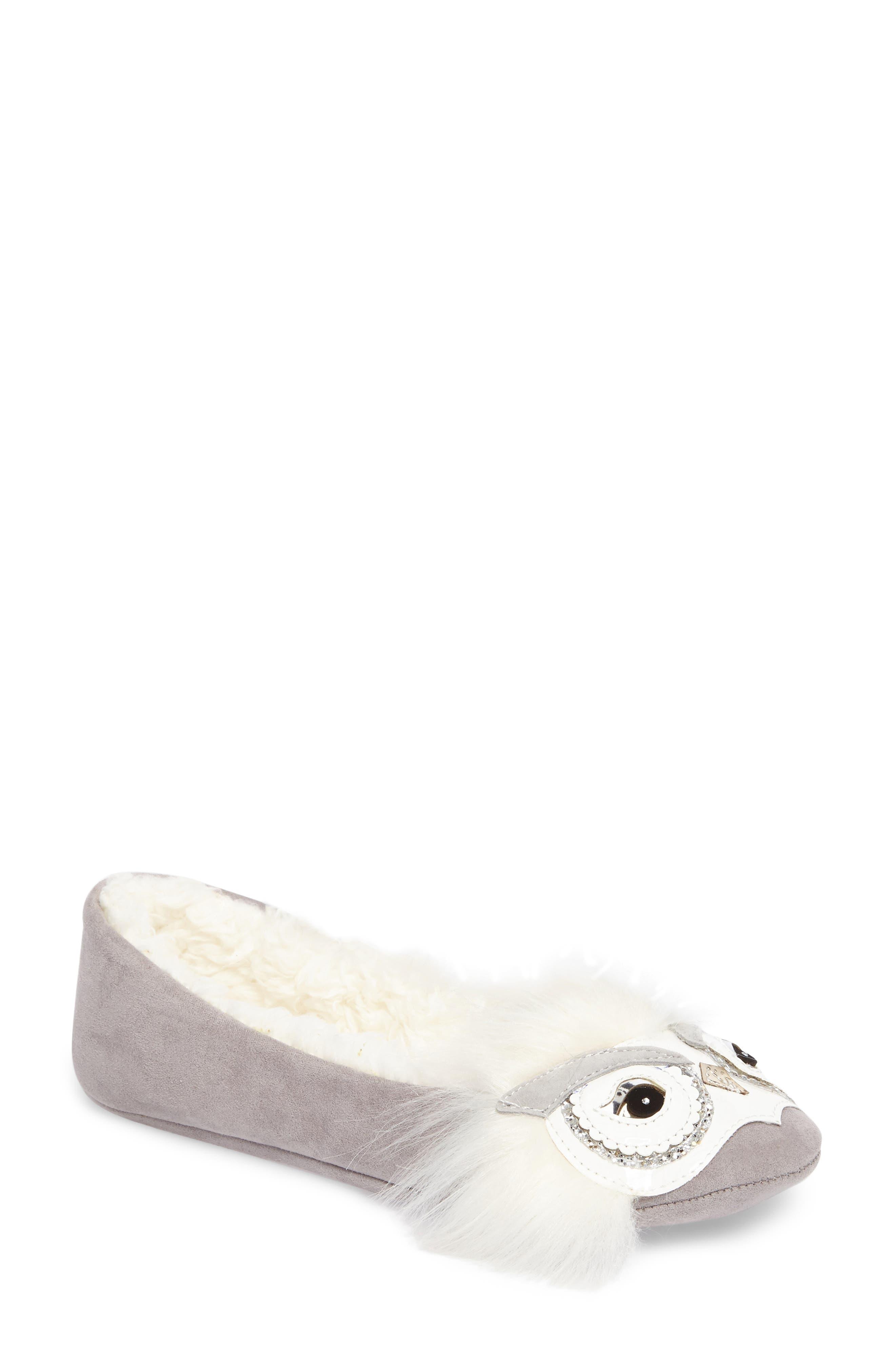 samantha owl slipper,                             Main thumbnail 1, color,                             Grey