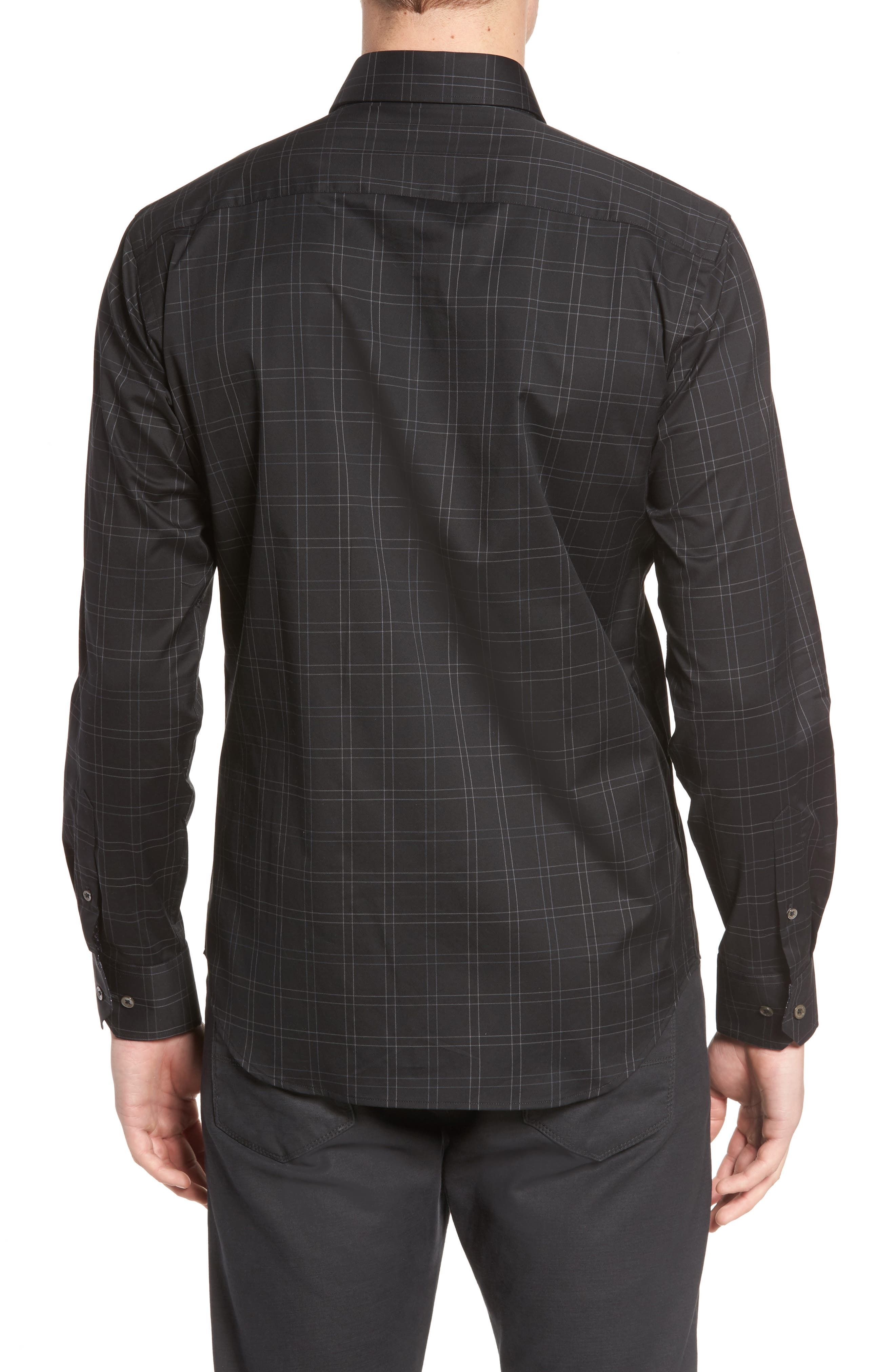 Shaped Fit Plaid Sport Shirt,                             Alternate thumbnail 2, color,                             Black