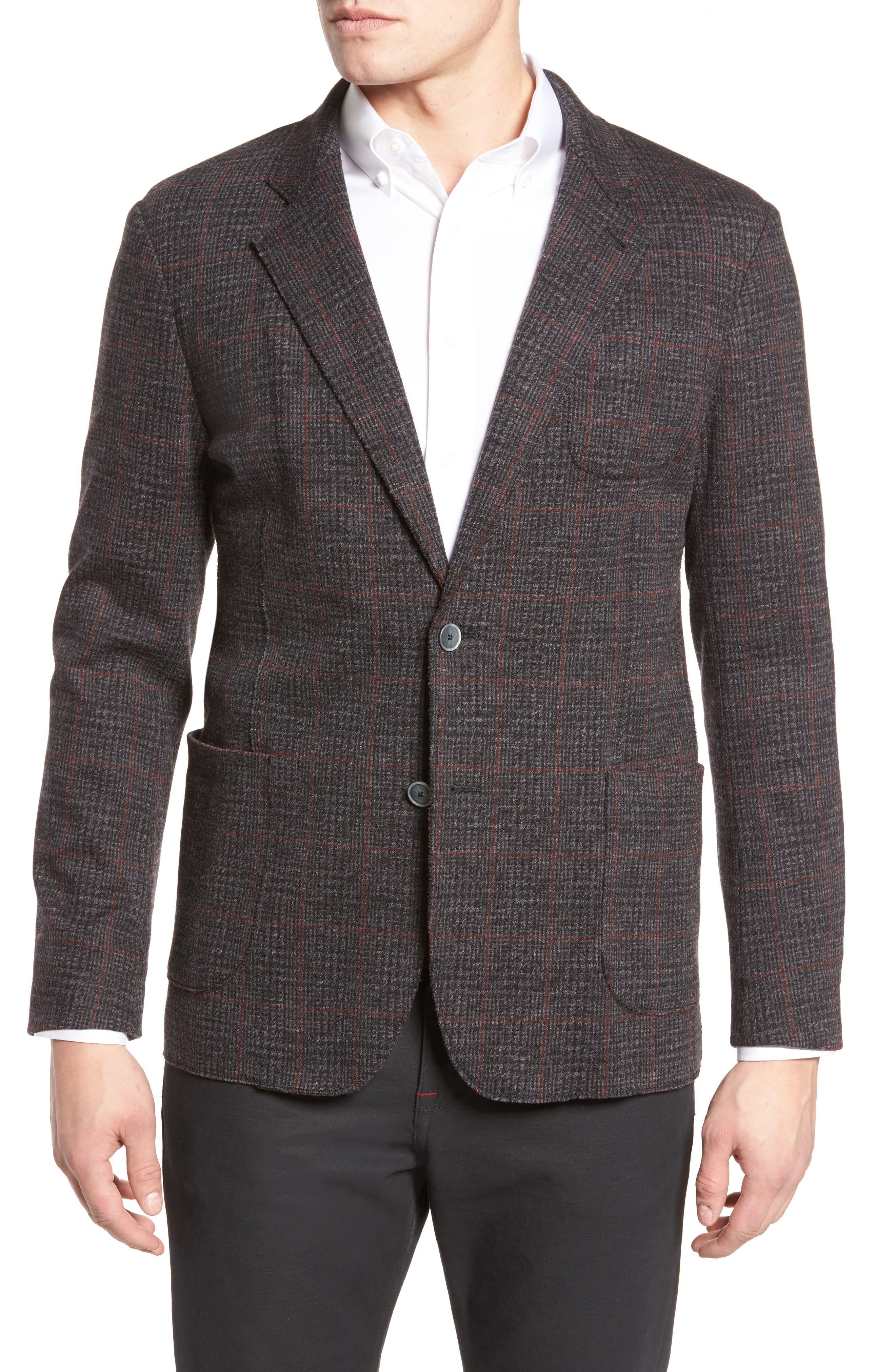 Plaid Wool Blazer,                         Main,                         color, Charcoal
