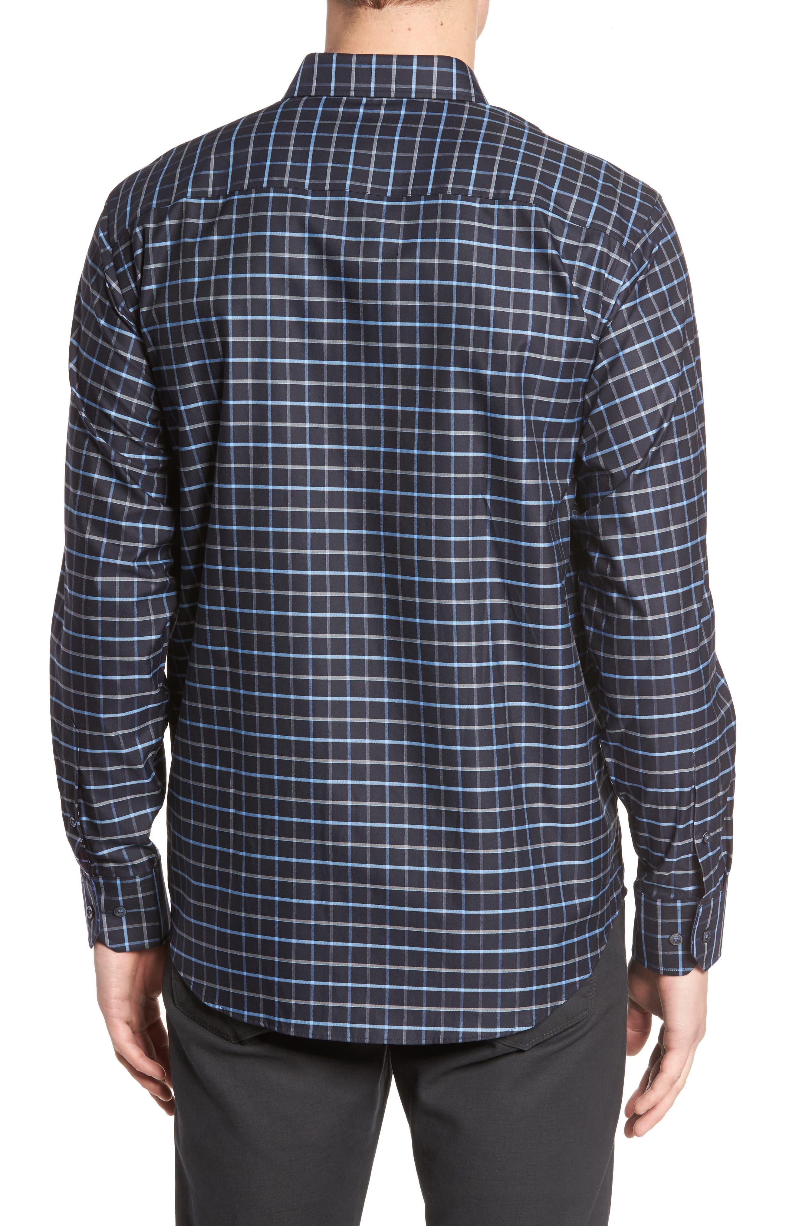 Alternate Image 2  - Bugatchi Classic Fit Grid Print Sport Shirt