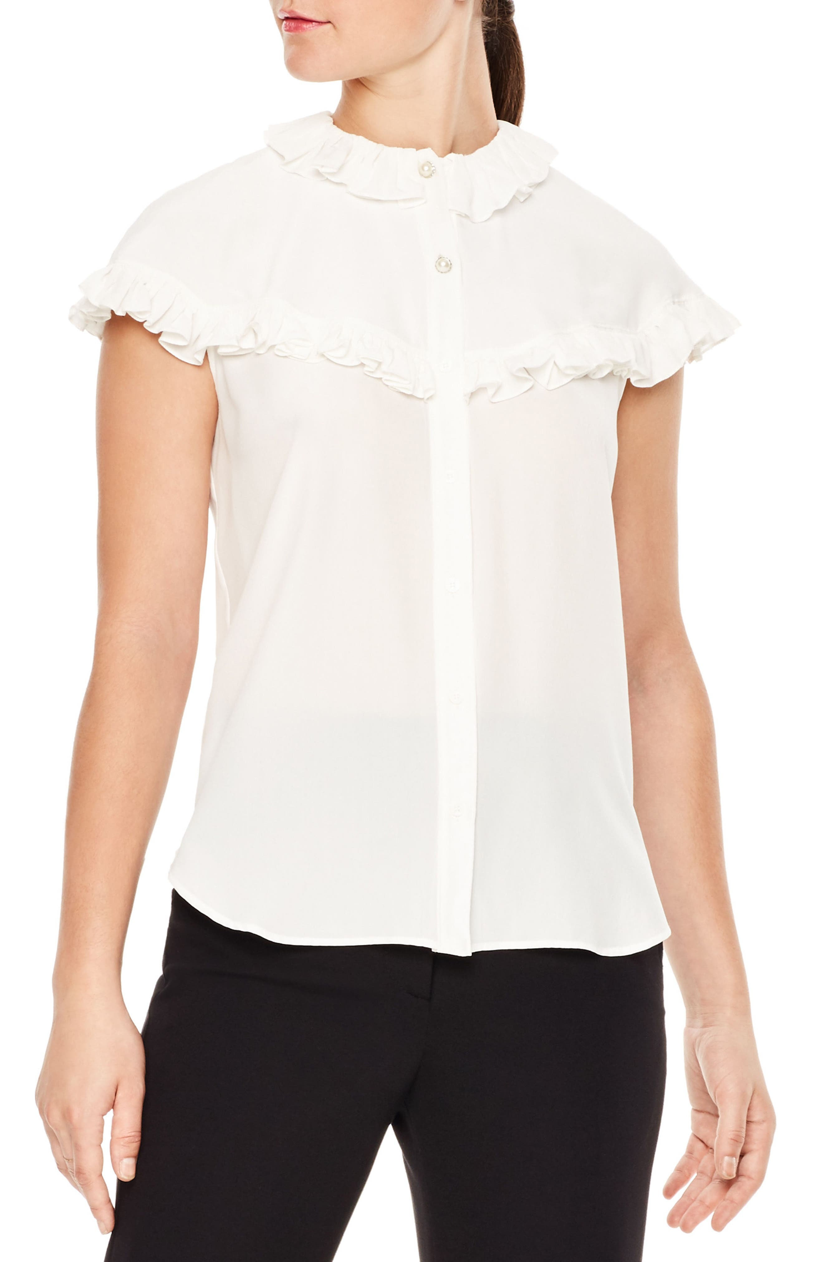 Brenda Silk Shirt,                         Main,                         color, Ecru