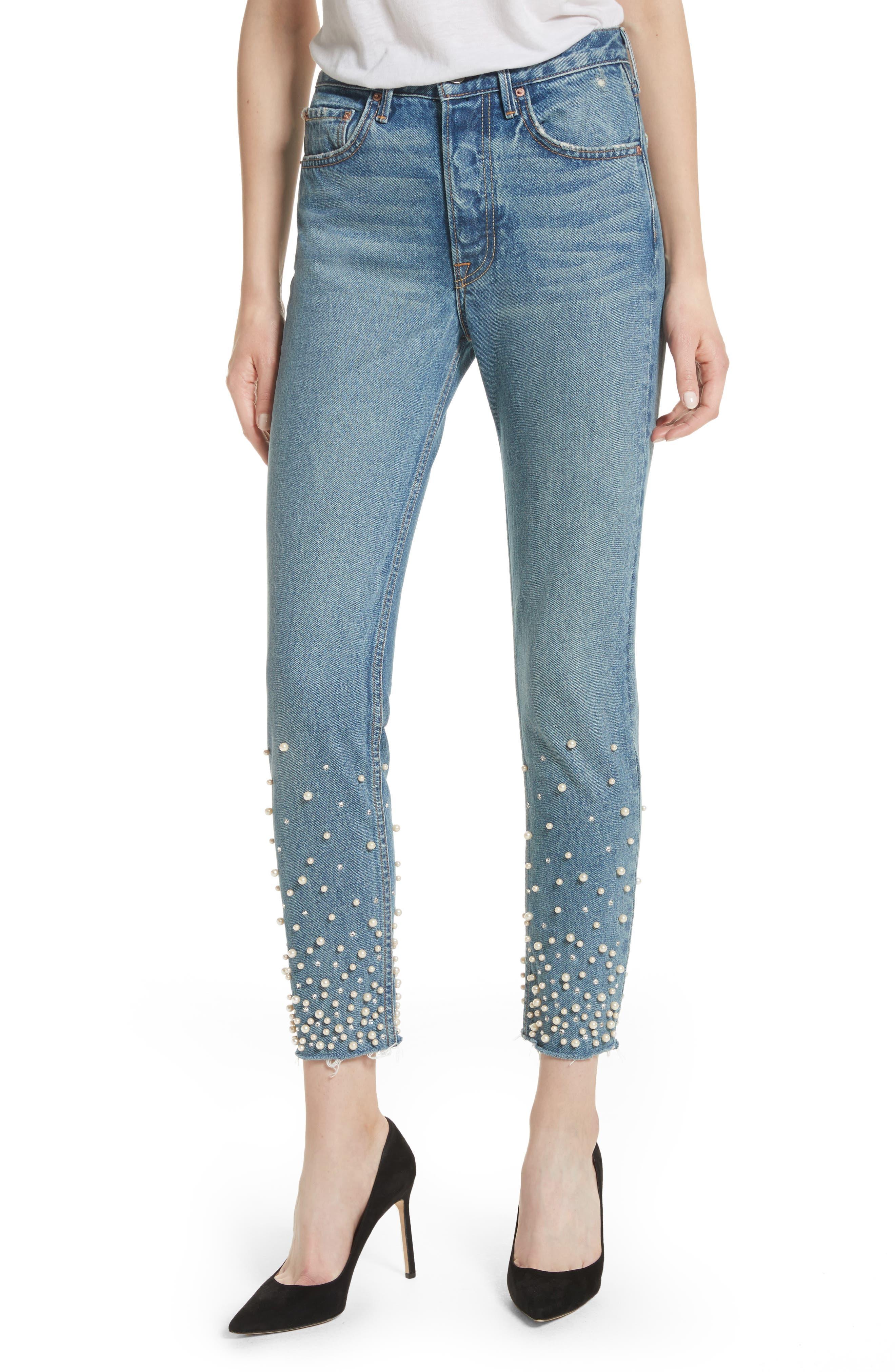 Alternate Image 1 Selected - GRLFRND Karolina Faux Pearl & Crystal Embellished Rigid High Waist Skinny Jeans (Morning Star)