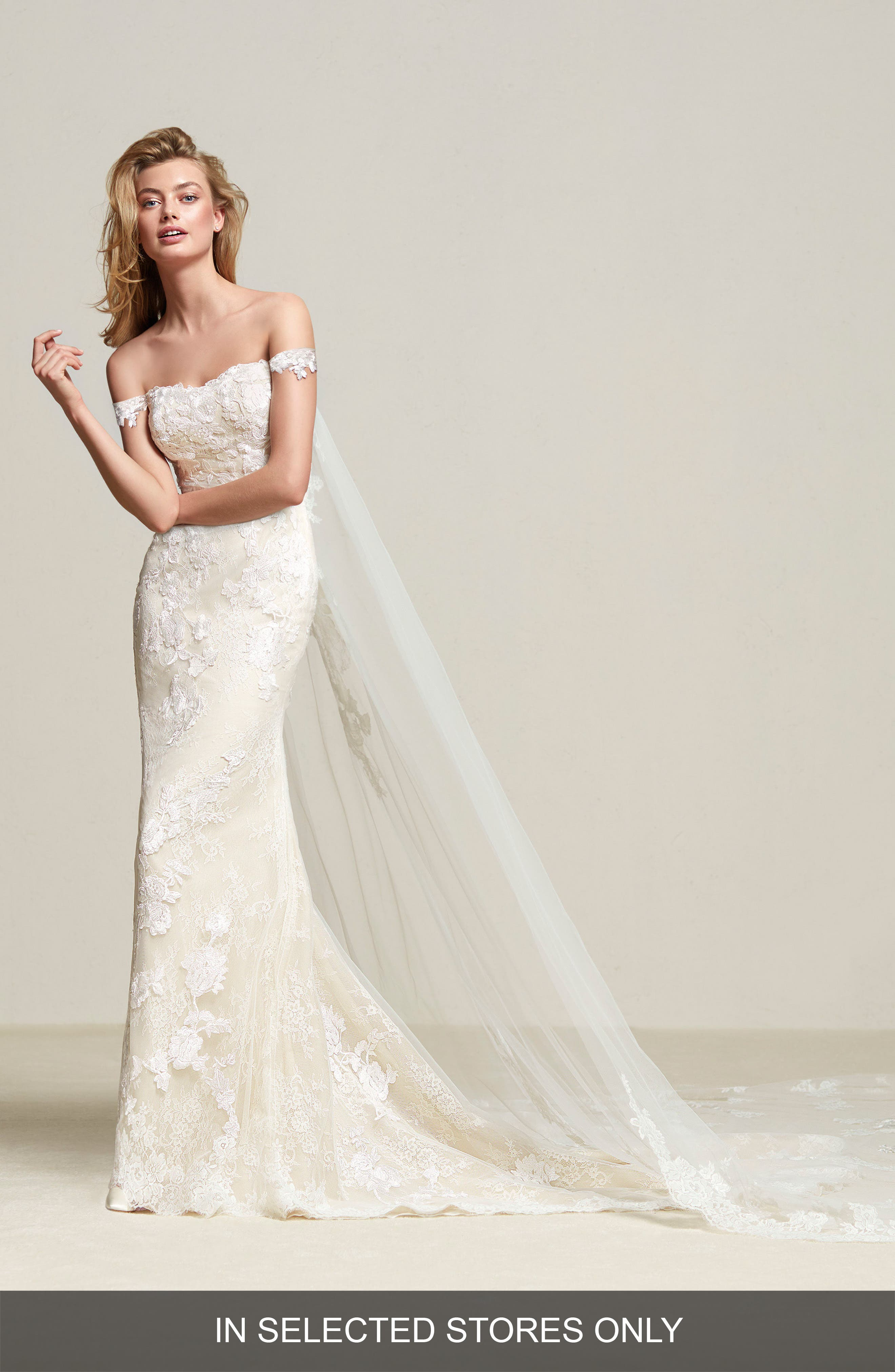 Dria Off the Shoulder Mermaid Gown with Detachable Train,                         Main,                         color, Off White/Beige