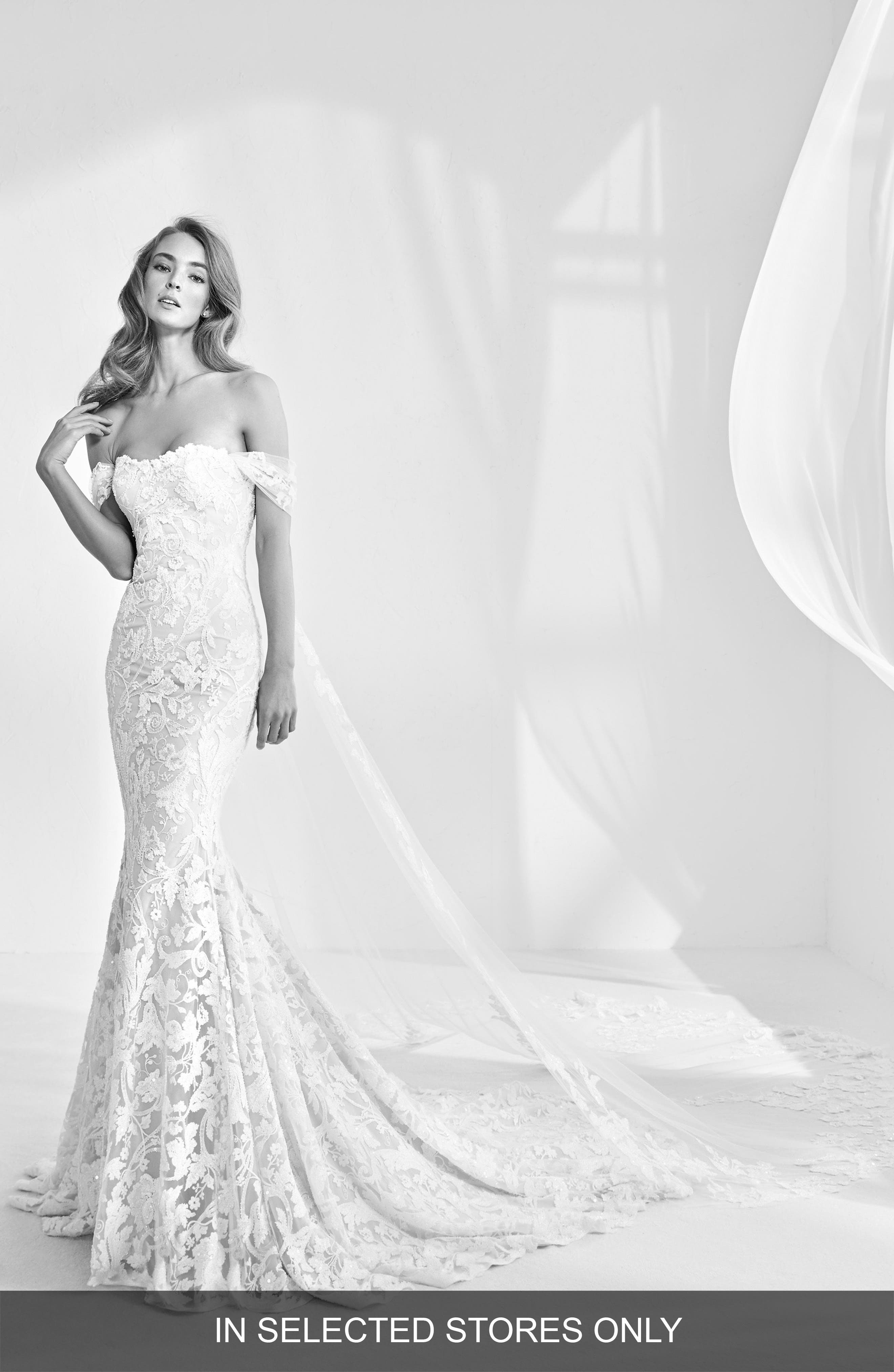 Alternate Image 1 Selected - Atelier Pronovias Rani Embellished Off the Shoulder Mermaid Gown