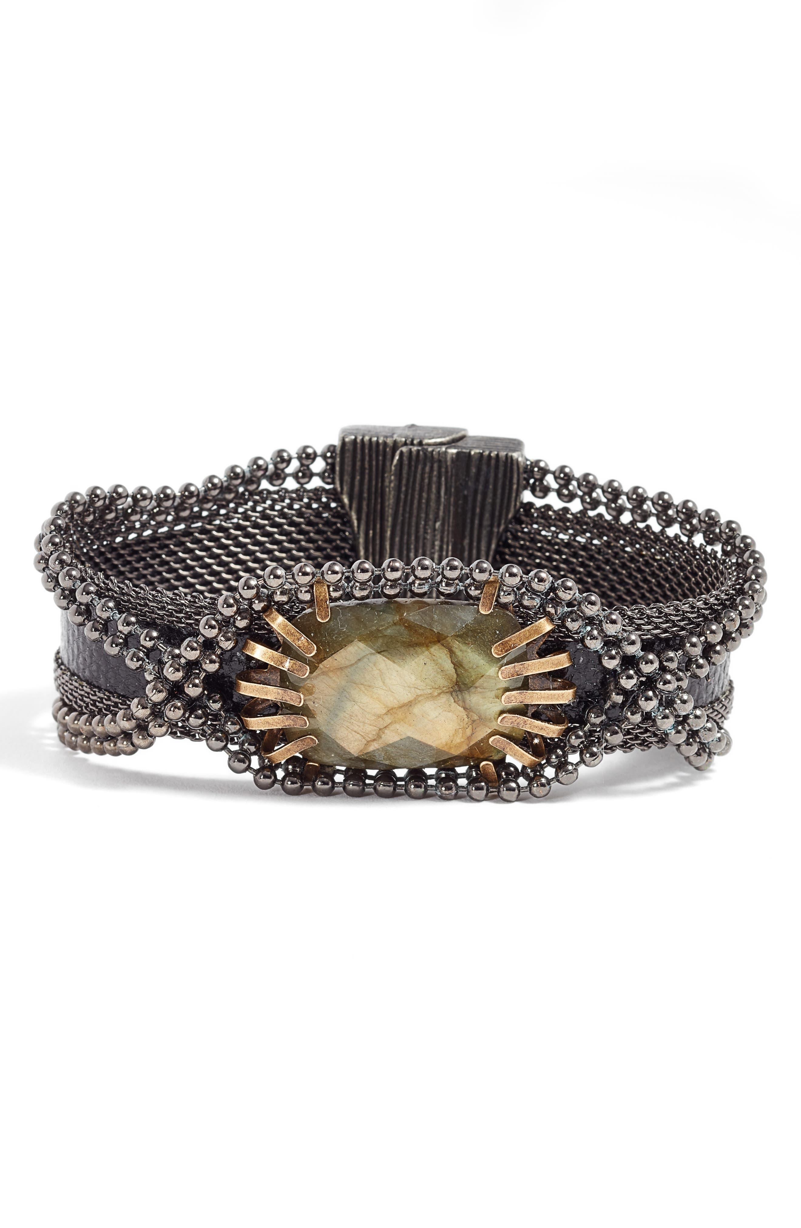 Stone & Snakeskin Bracelet,                             Main thumbnail 1, color,                             Black/ Bronze/ Gunmetal