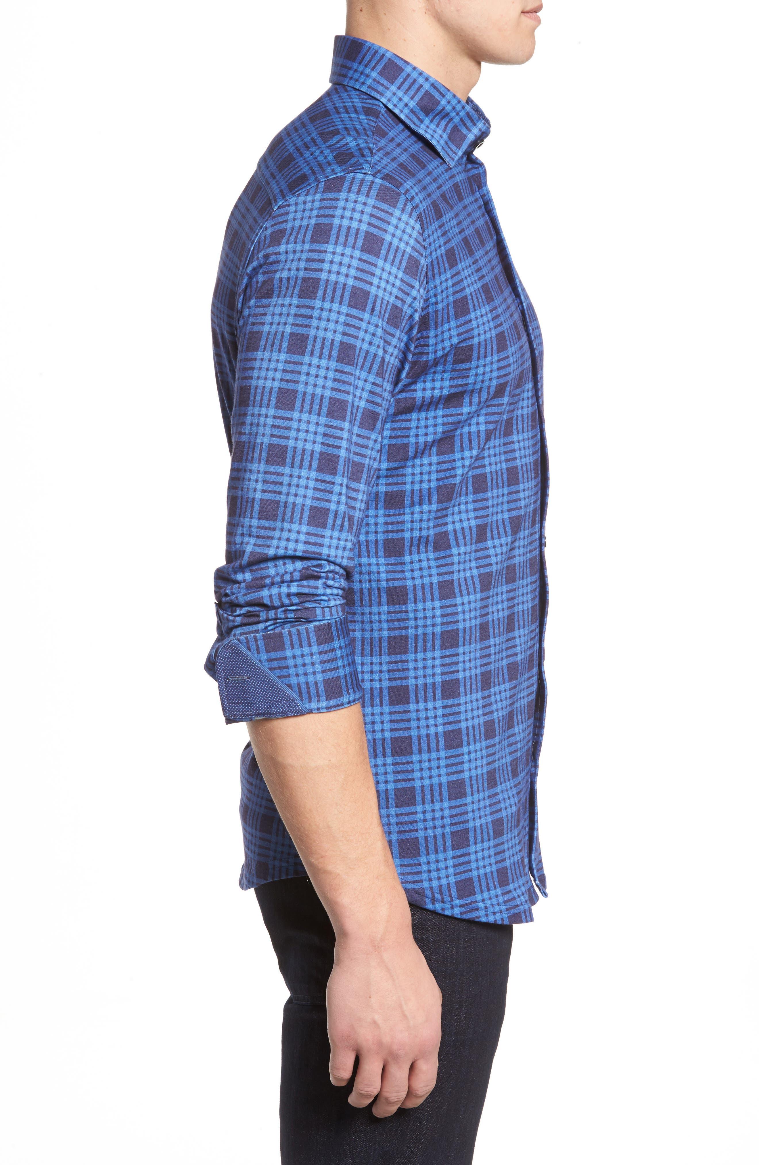 Slim Fit Plaid Knit Sport Shirt,                             Alternate thumbnail 3, color,                             Navy