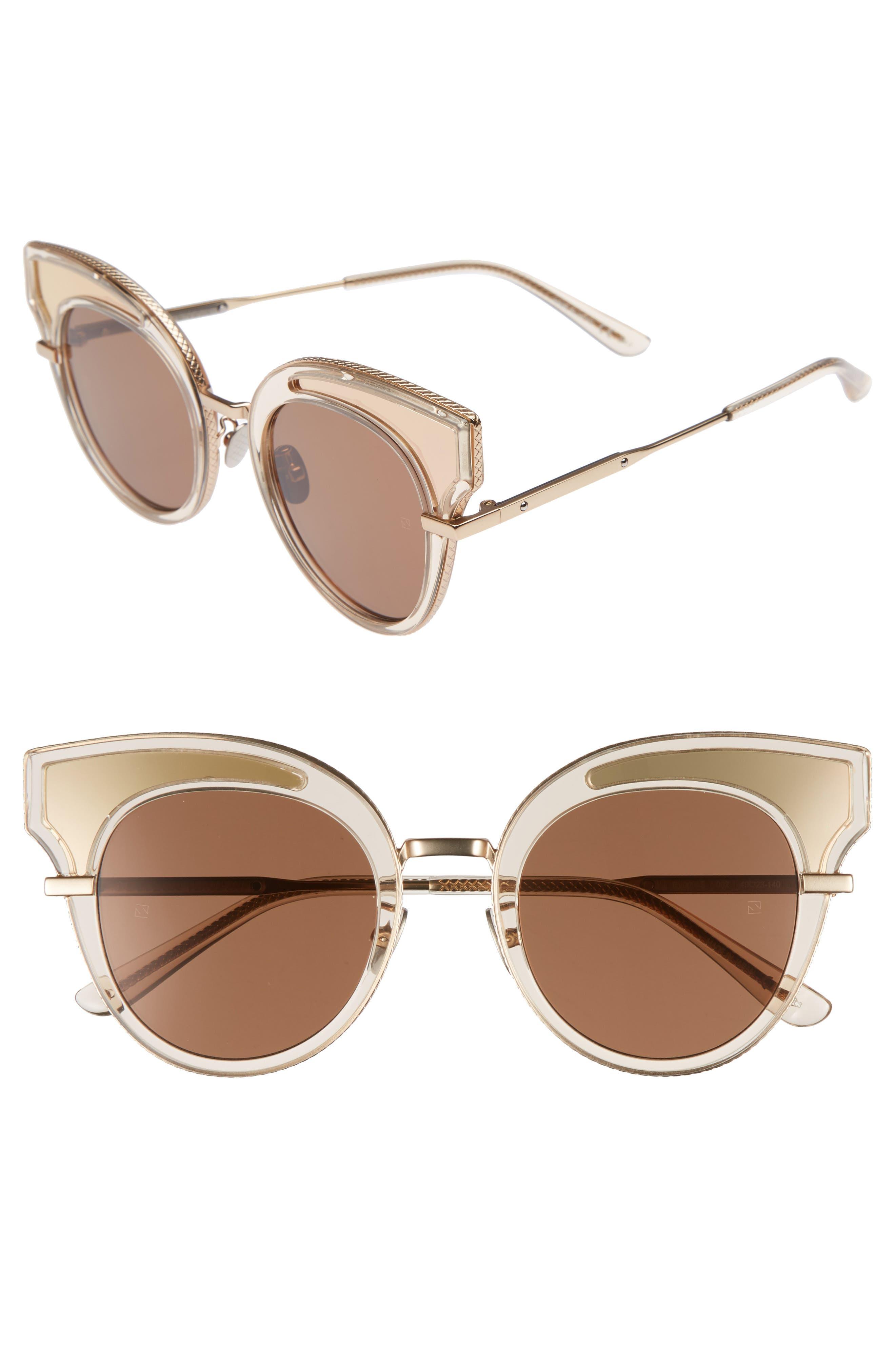 49mm Cat Eye Sunglasses,                         Main,                         color, Yellow