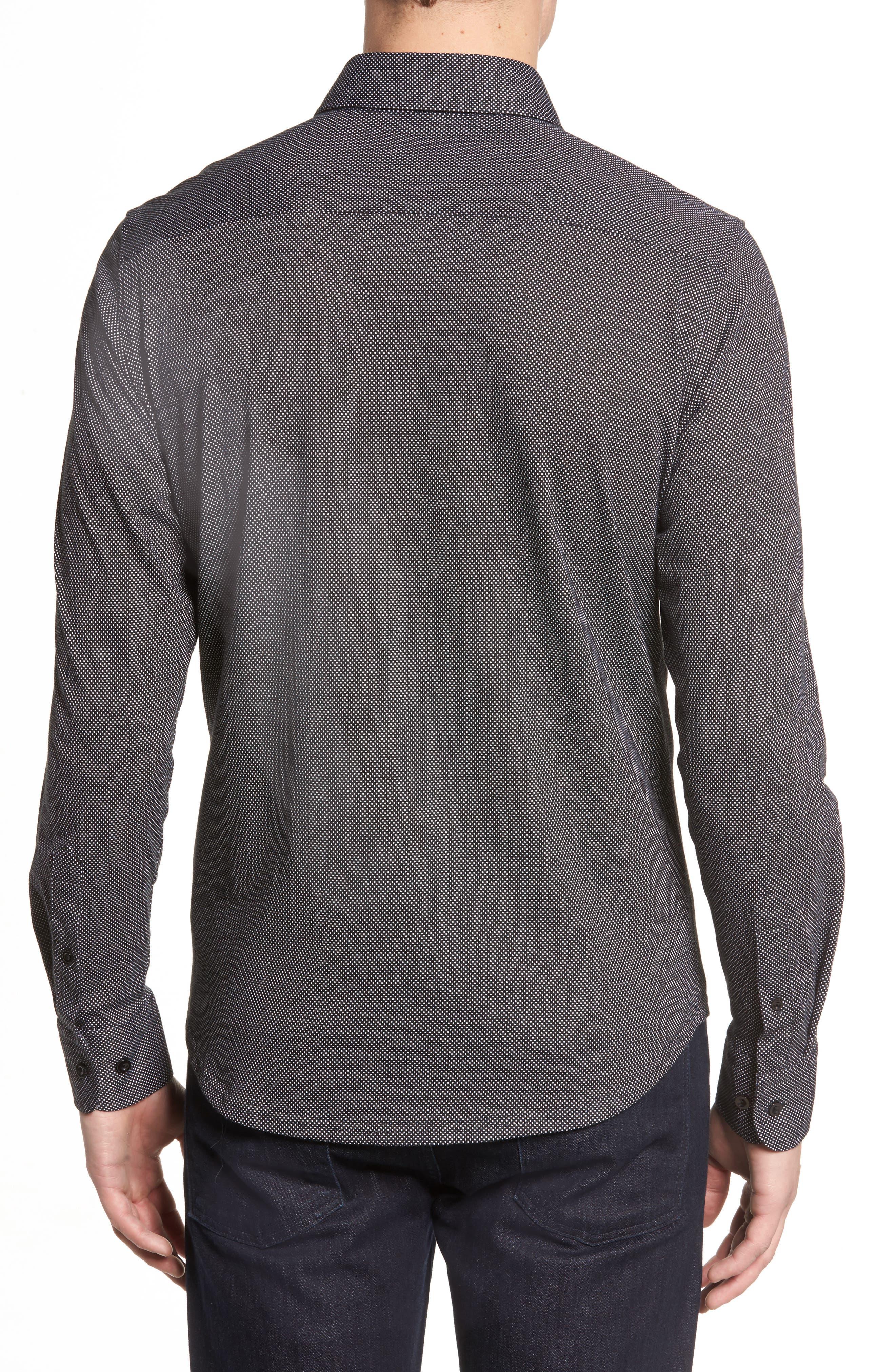 Slim Fit Micro Dot Knit Sport Shirt,                             Alternate thumbnail 3, color,                             Black