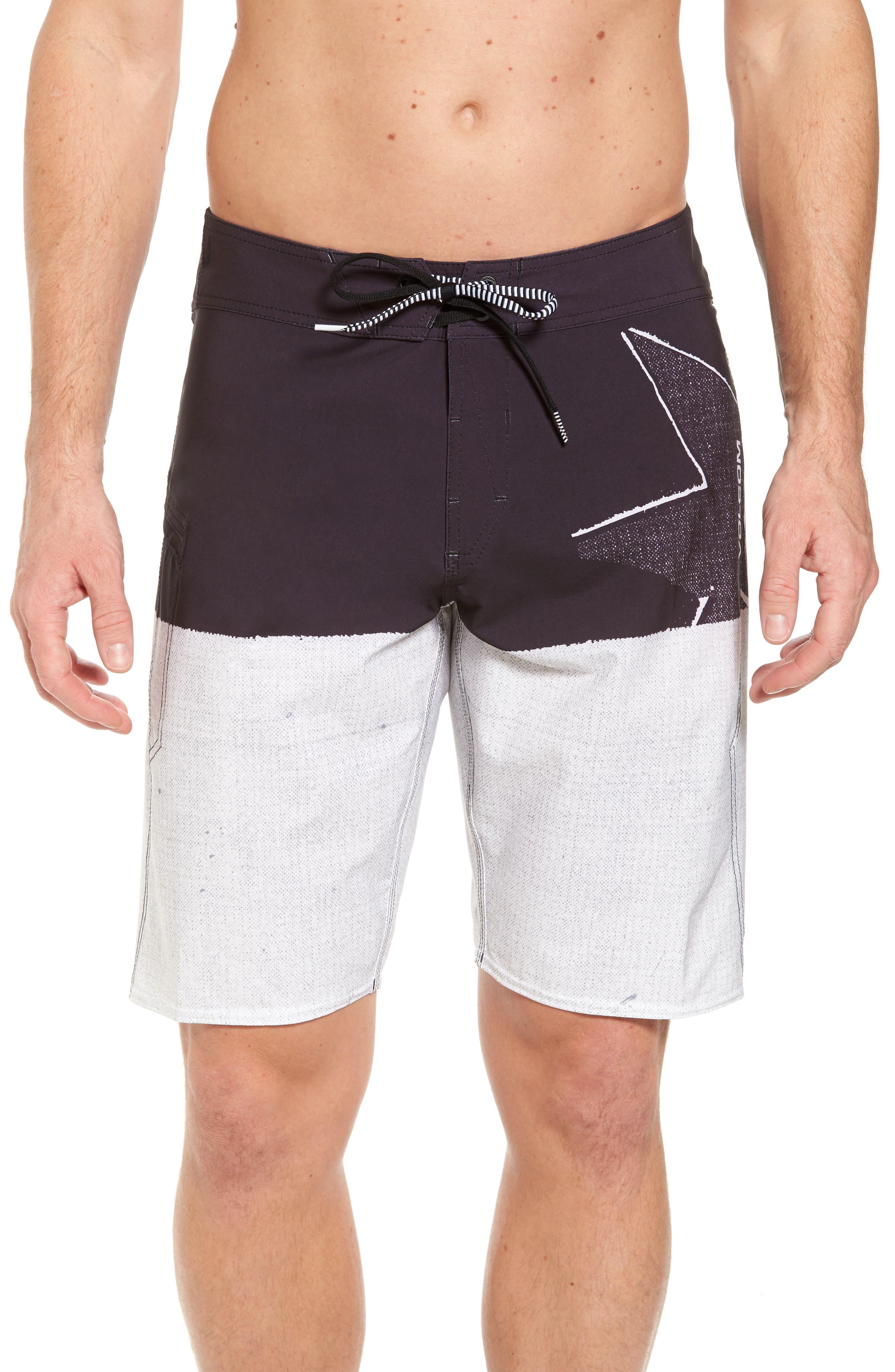 Lido Block Mod Board Shorts,                         Main,                         color, Black