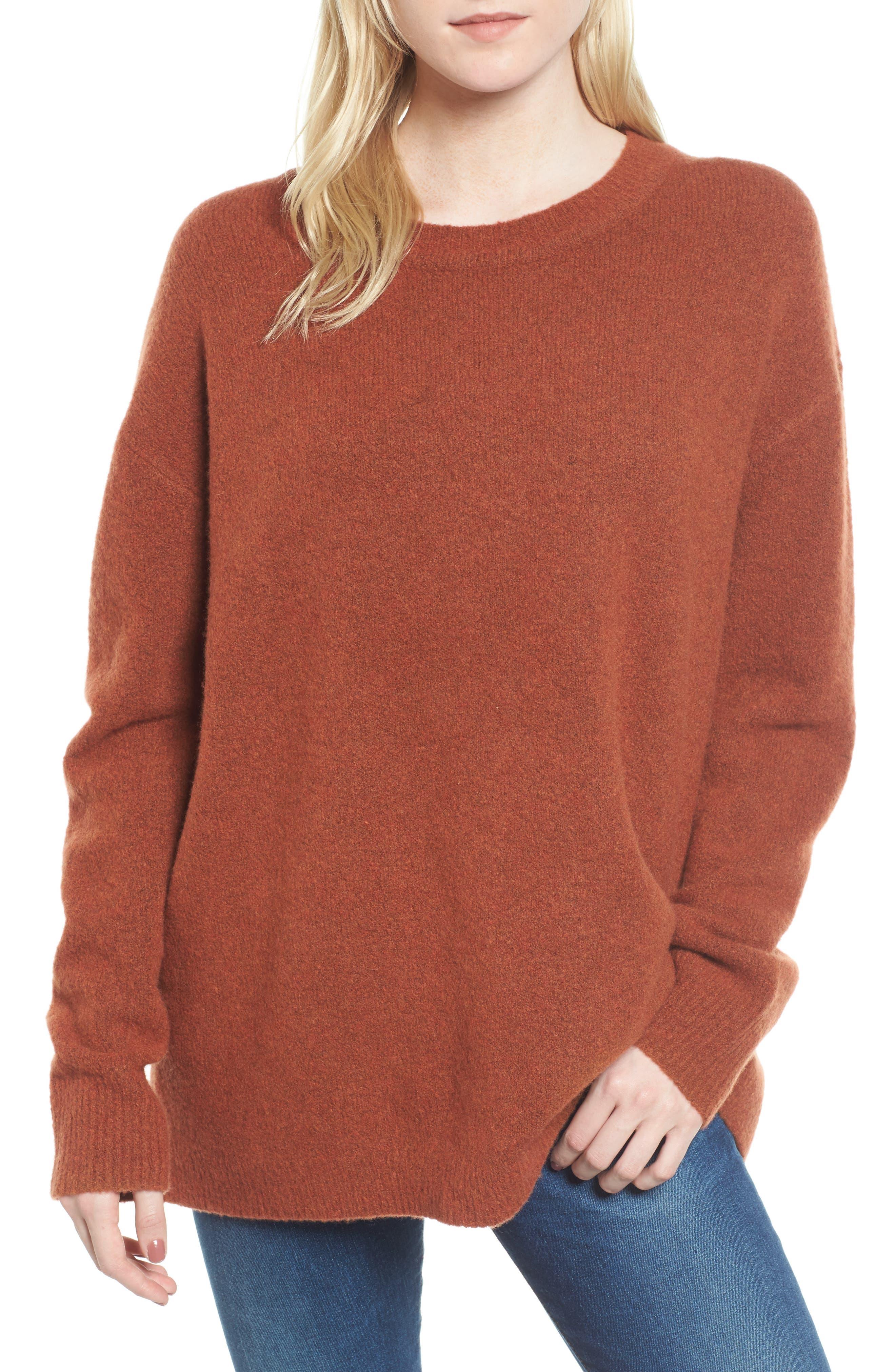Oversize Cashmere Sweater,                         Main,                         color, Burnt Orange