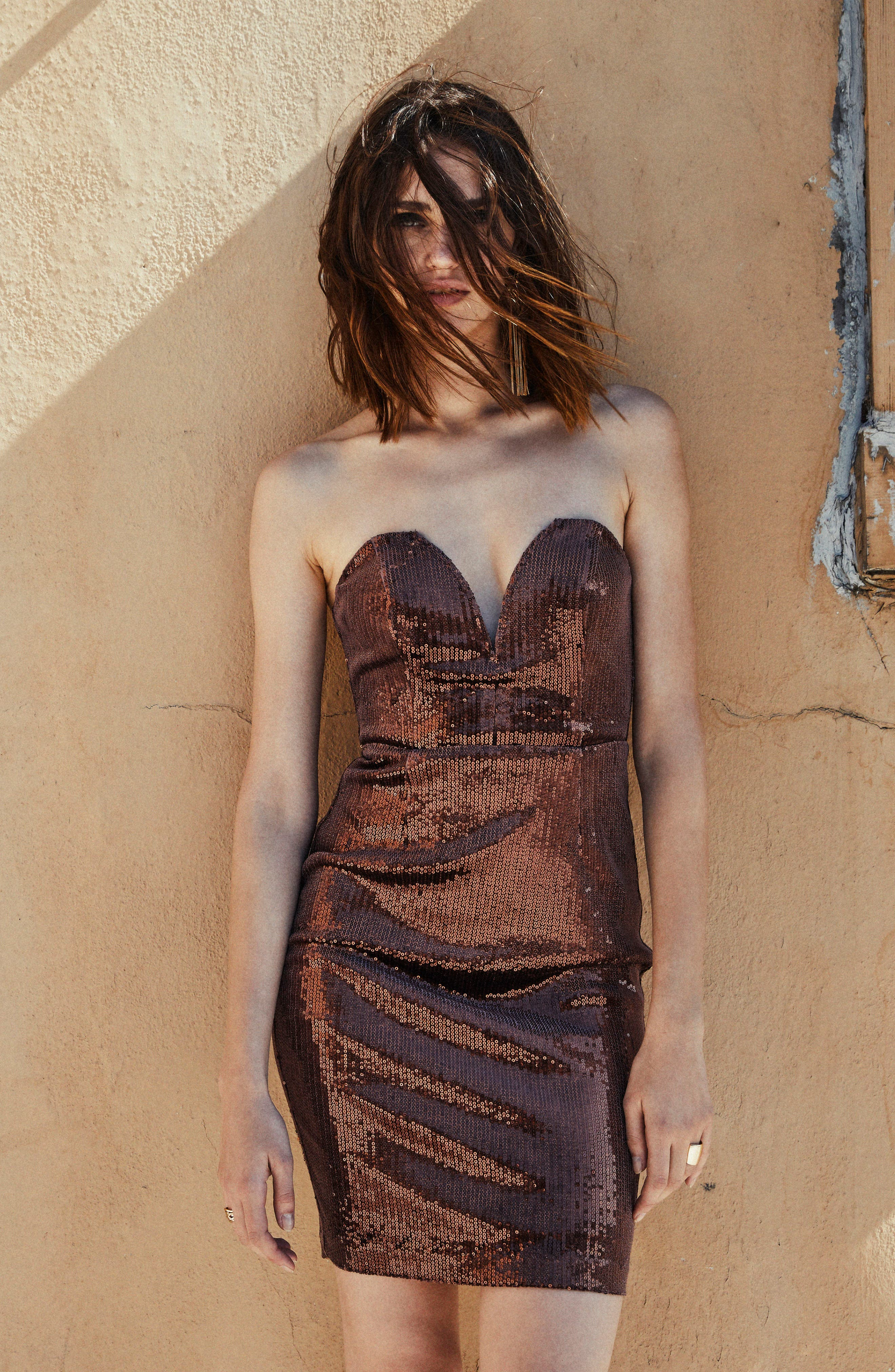 Alternate Image 2  - ASTR the Label Rizzo Sequin Strapless Dress