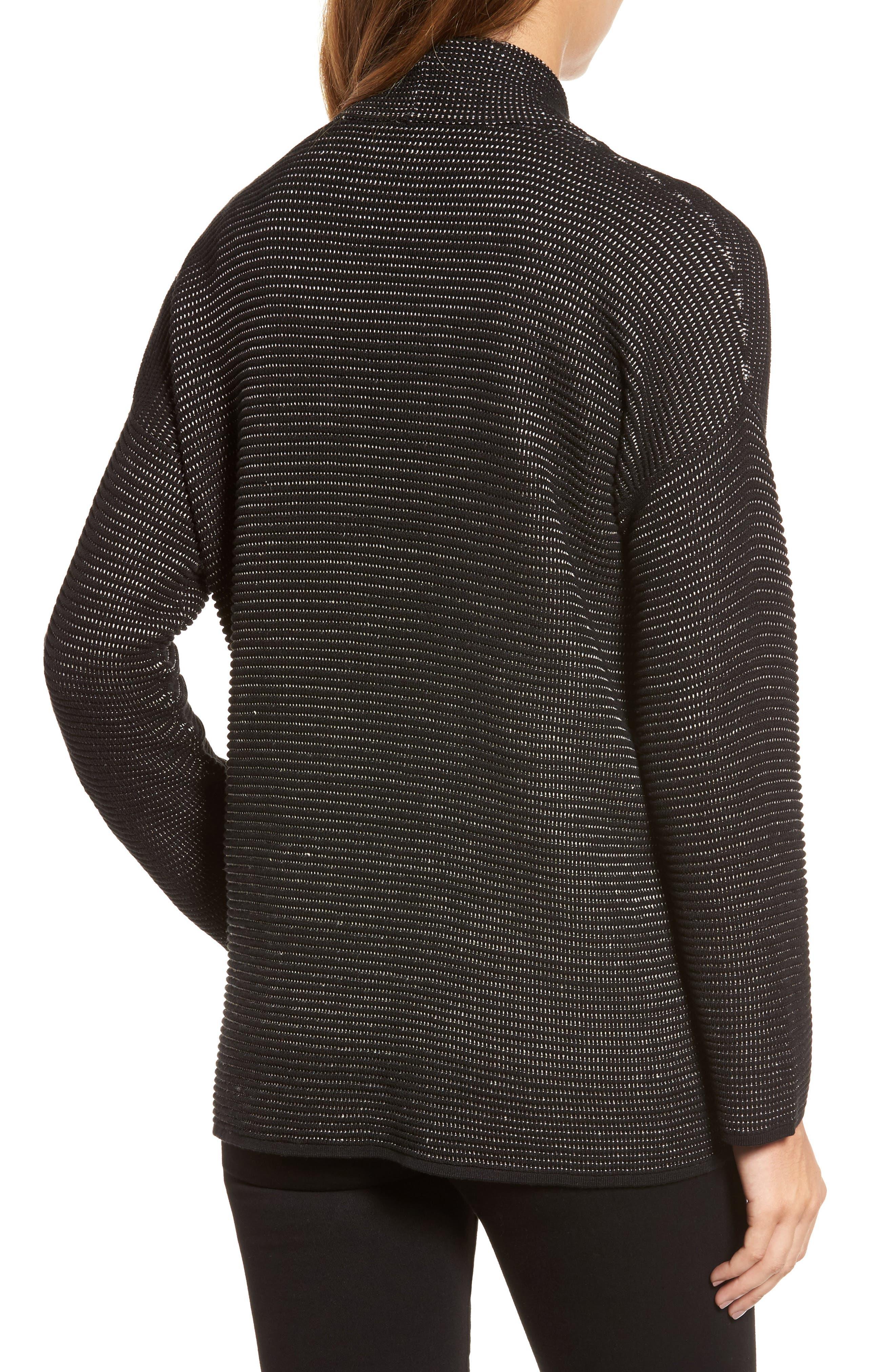 Silk Blend Ottoman Knit Cardigan,                             Alternate thumbnail 2, color,                             Black Natural